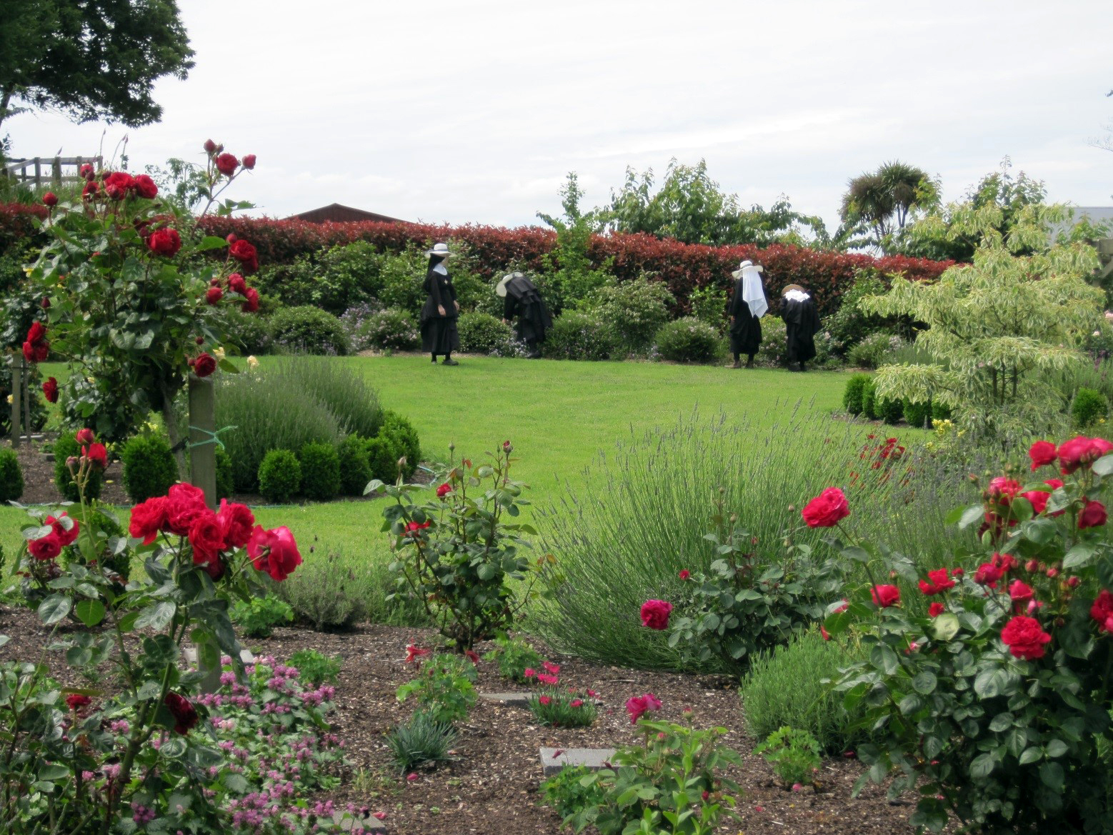 Each rose bed represents a mystery of the Rosary
