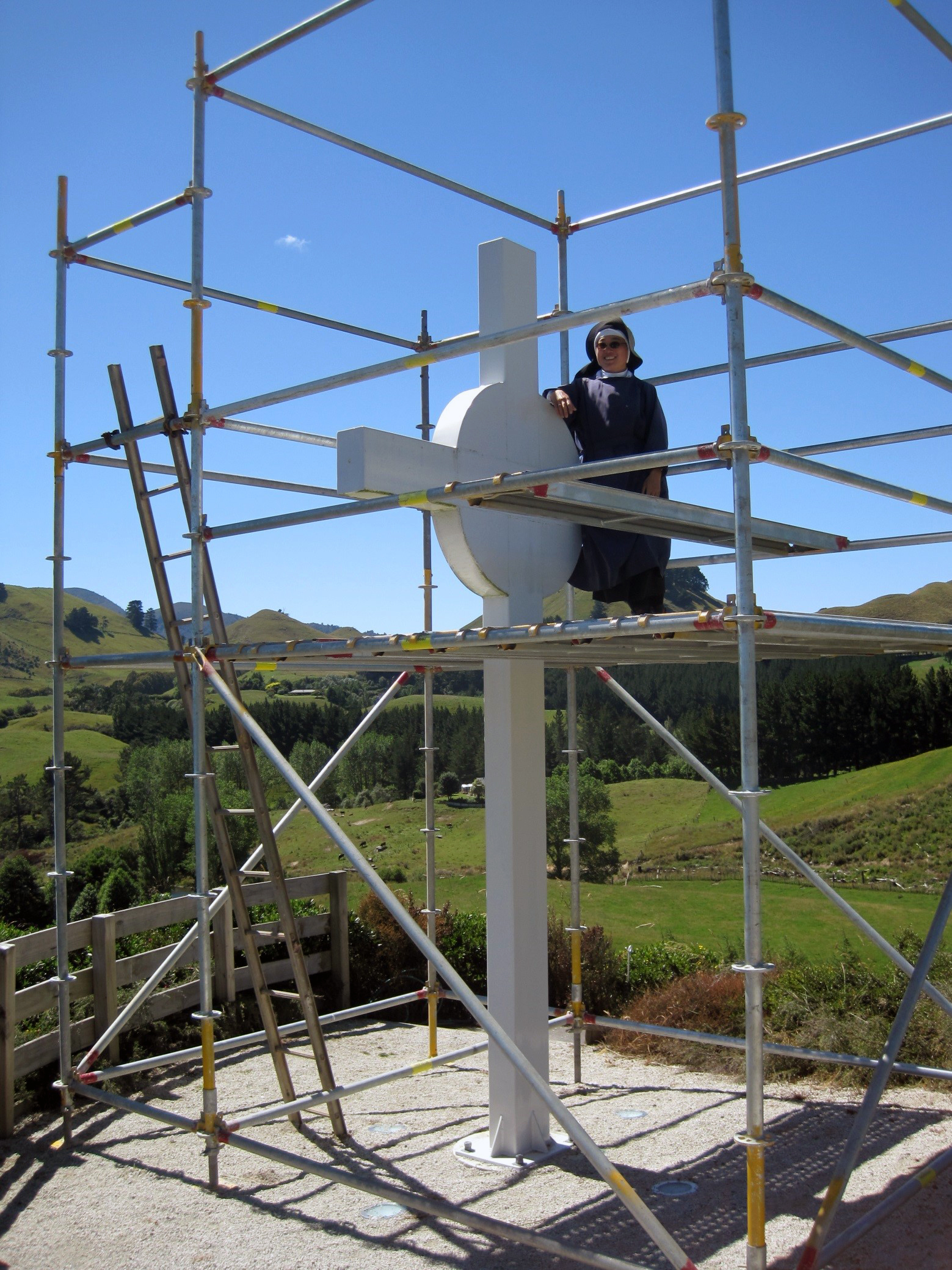 Bill setting up the scaffolding