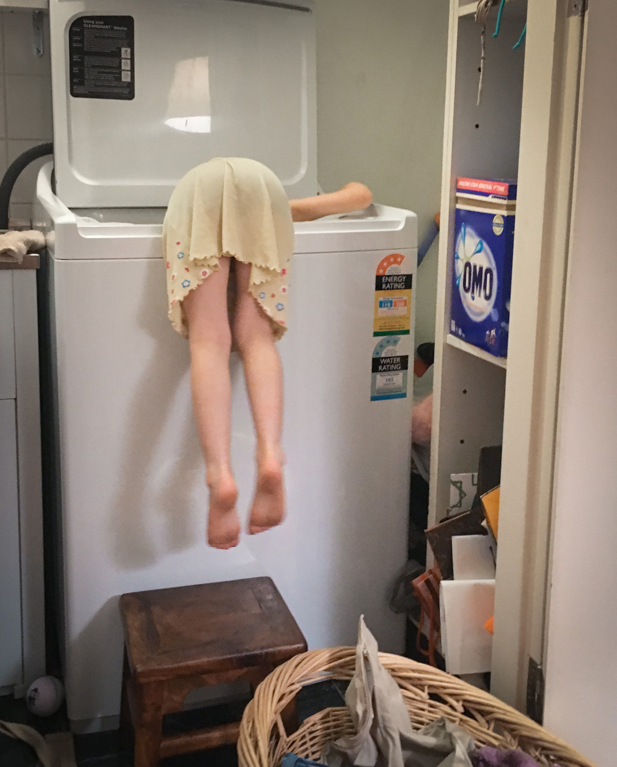 Proof that you don't need excessive skill (or height)to do your own laundry.