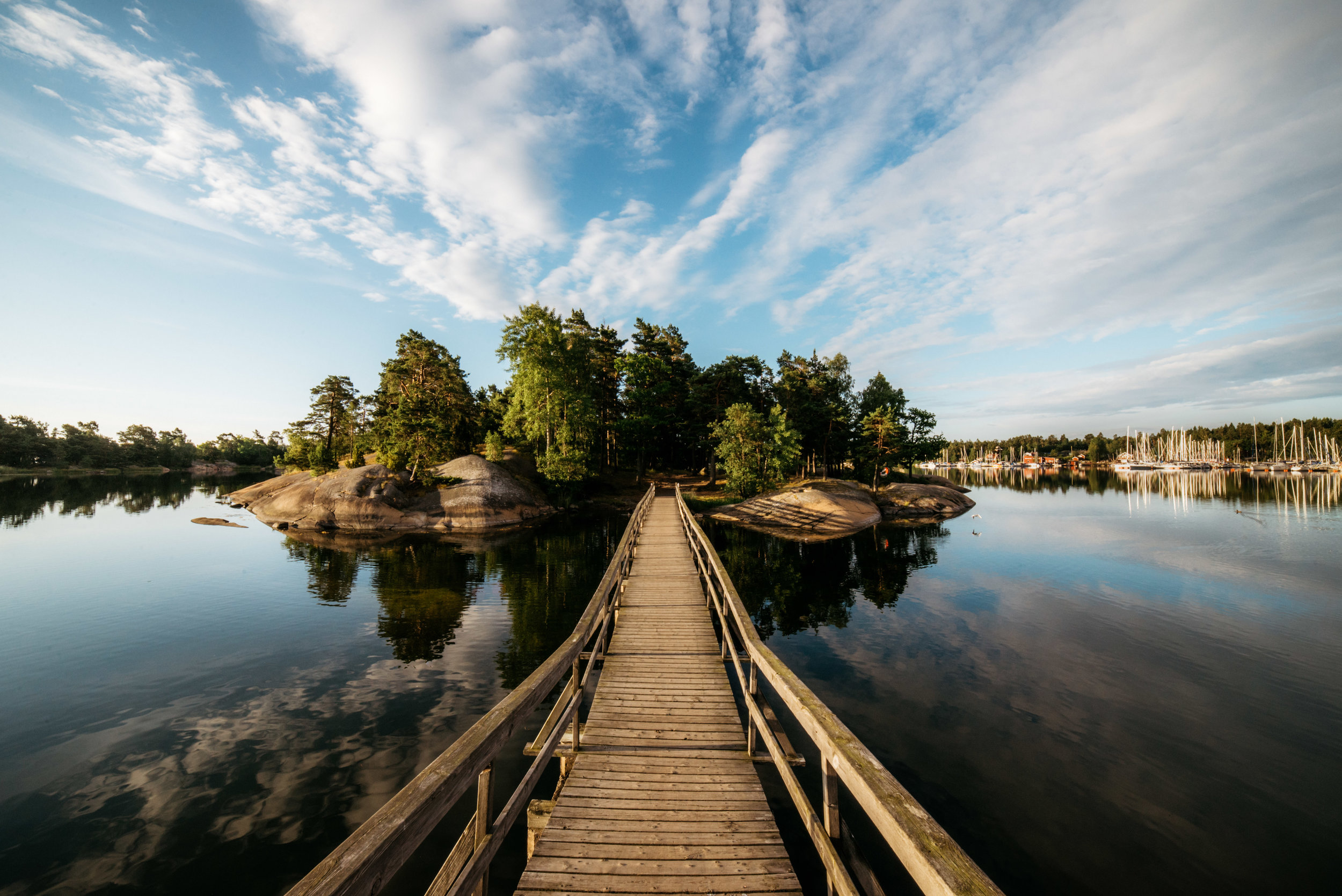 Swedish seascape - tiny island with a bridge