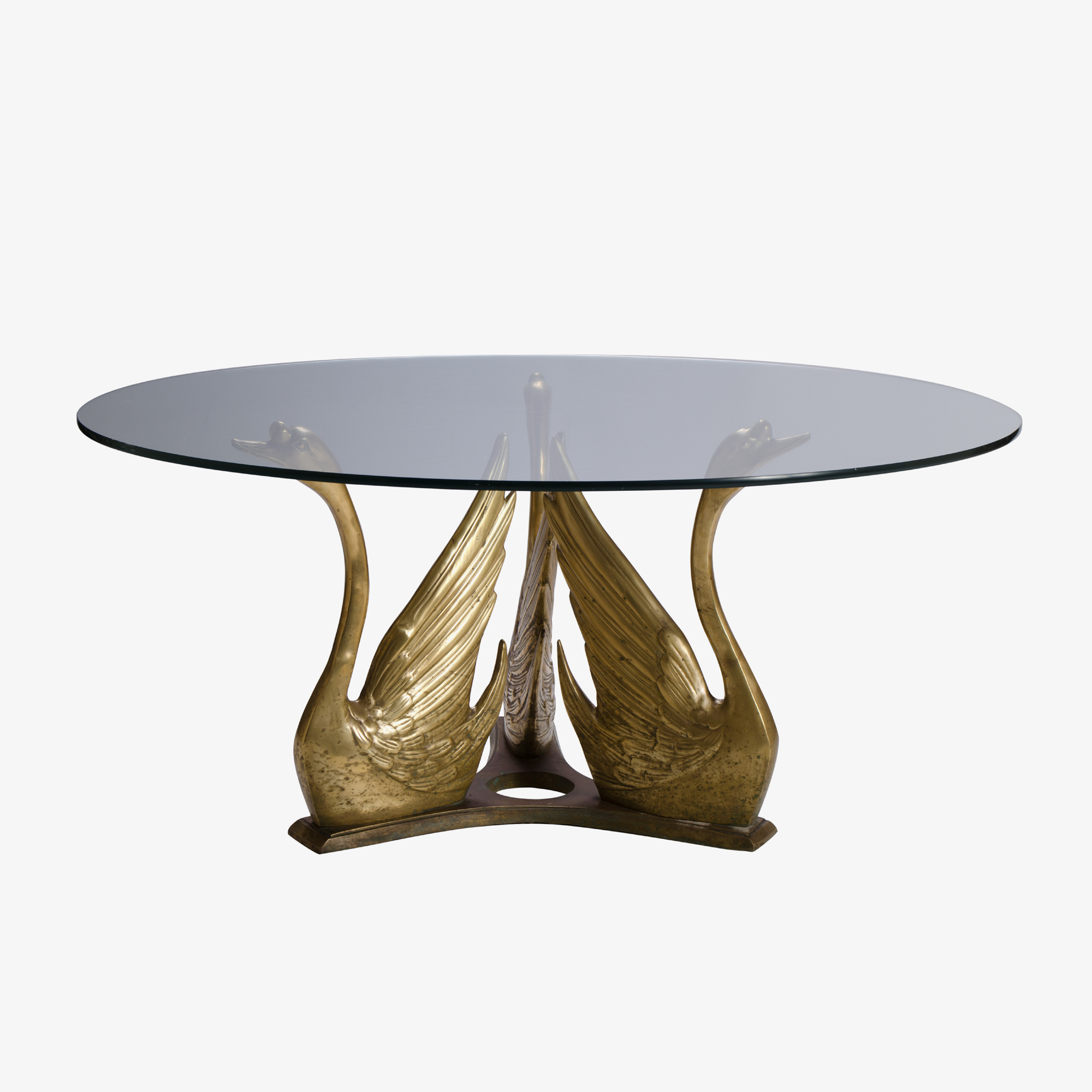 French Brass Seated Swan Cocktail Table