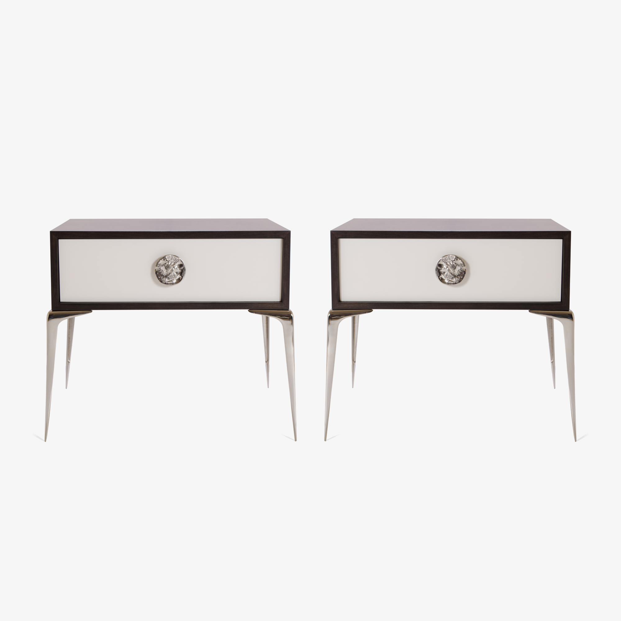 Montage Colette Nickel Nightstands in Walnut