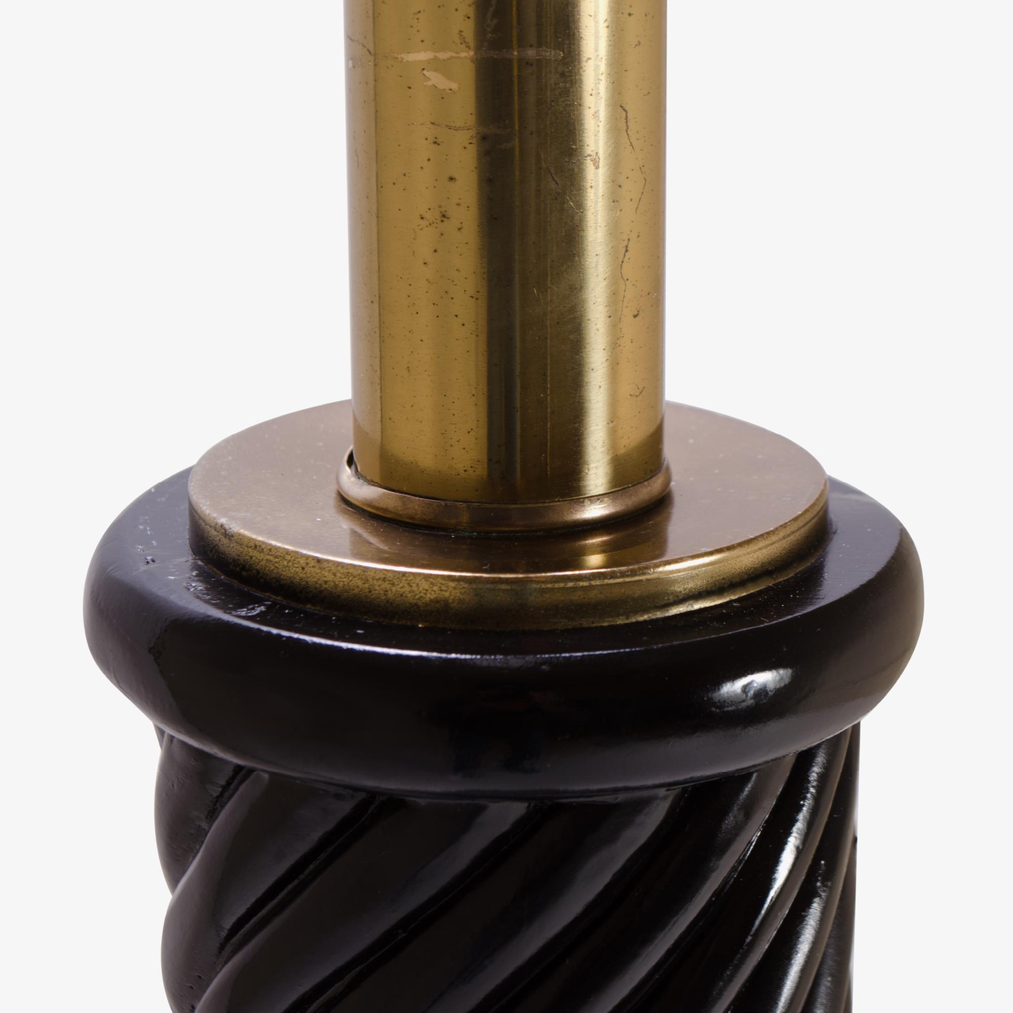 Hollywood Ebony Resin & Brass Swirl Floor Lamp