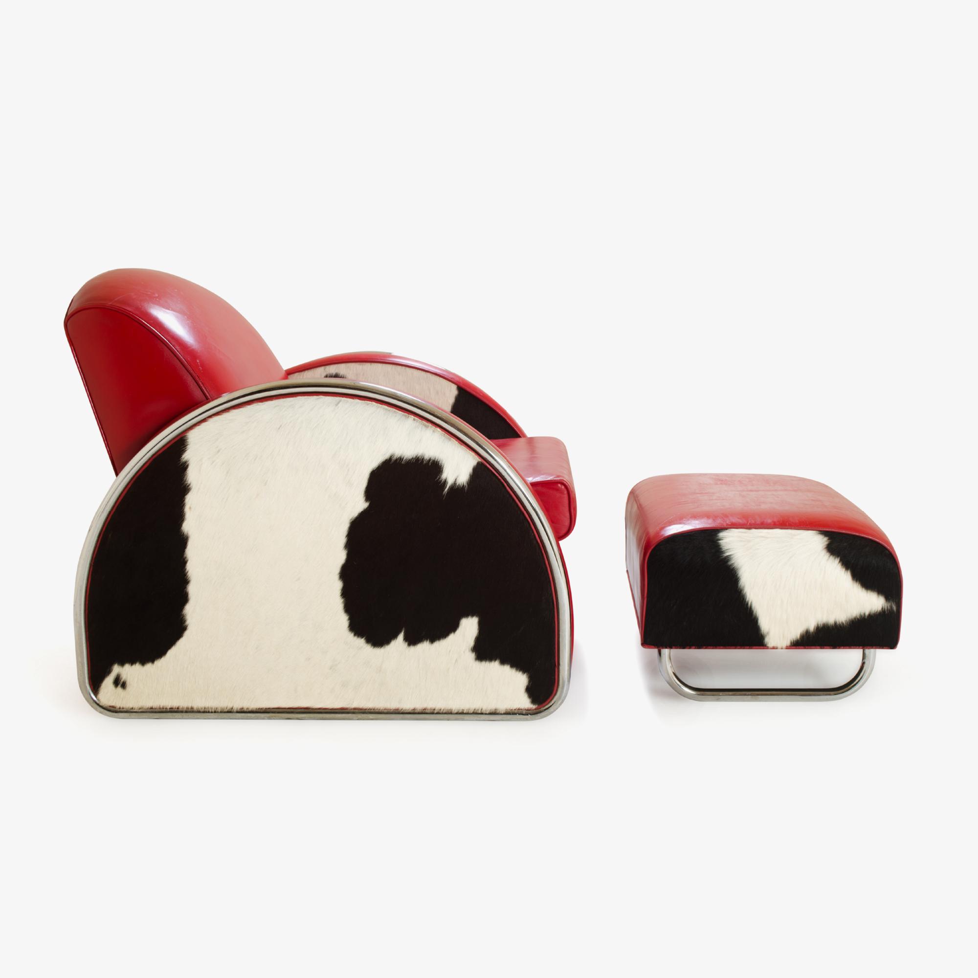 Art-Deco Cowhide/Leather Club Chair & Ottoman