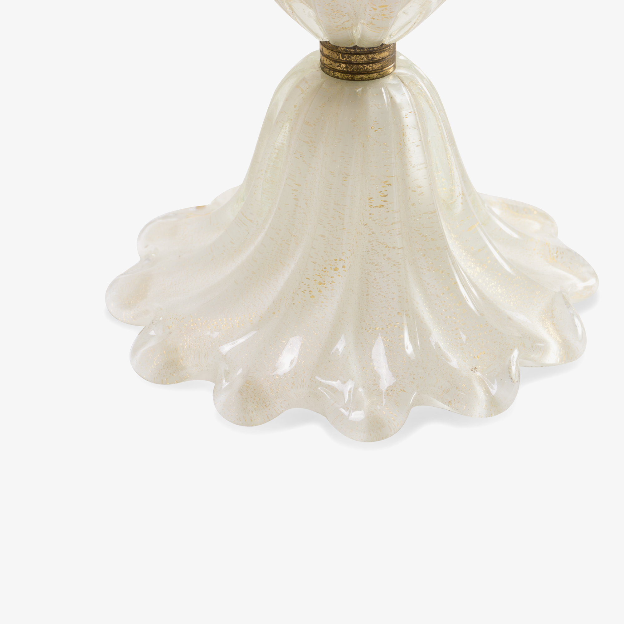 Draped White Murano Glass Lamp with Gold Inclusions and Brass Bands3.png