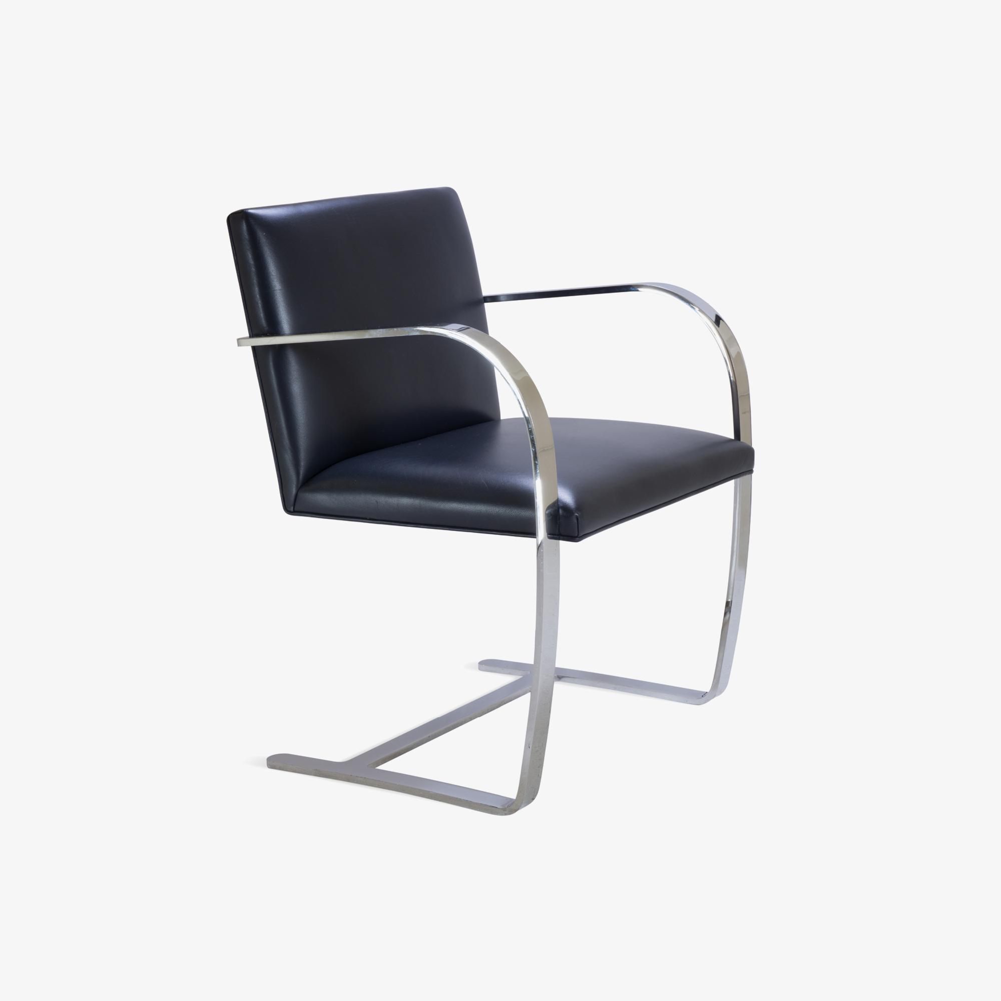 Knoll Brno Flat-Bar Chairs in Navy Velvet
