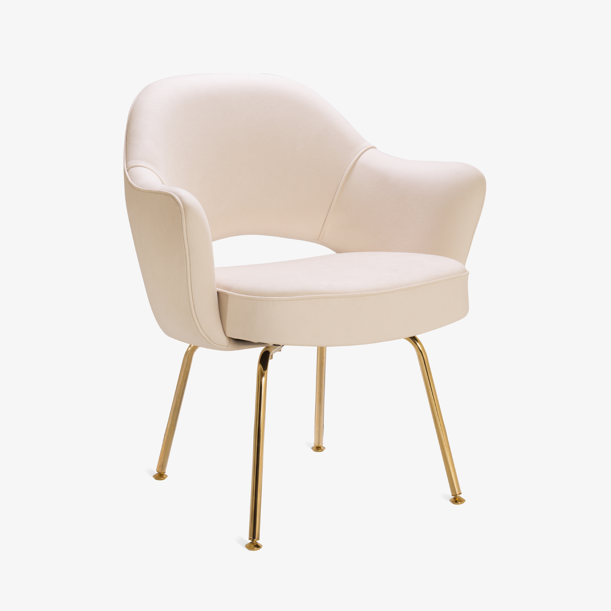 Knoll Saarinen Executive Arm Chair in Luxe Suede, 24k Gold Edition