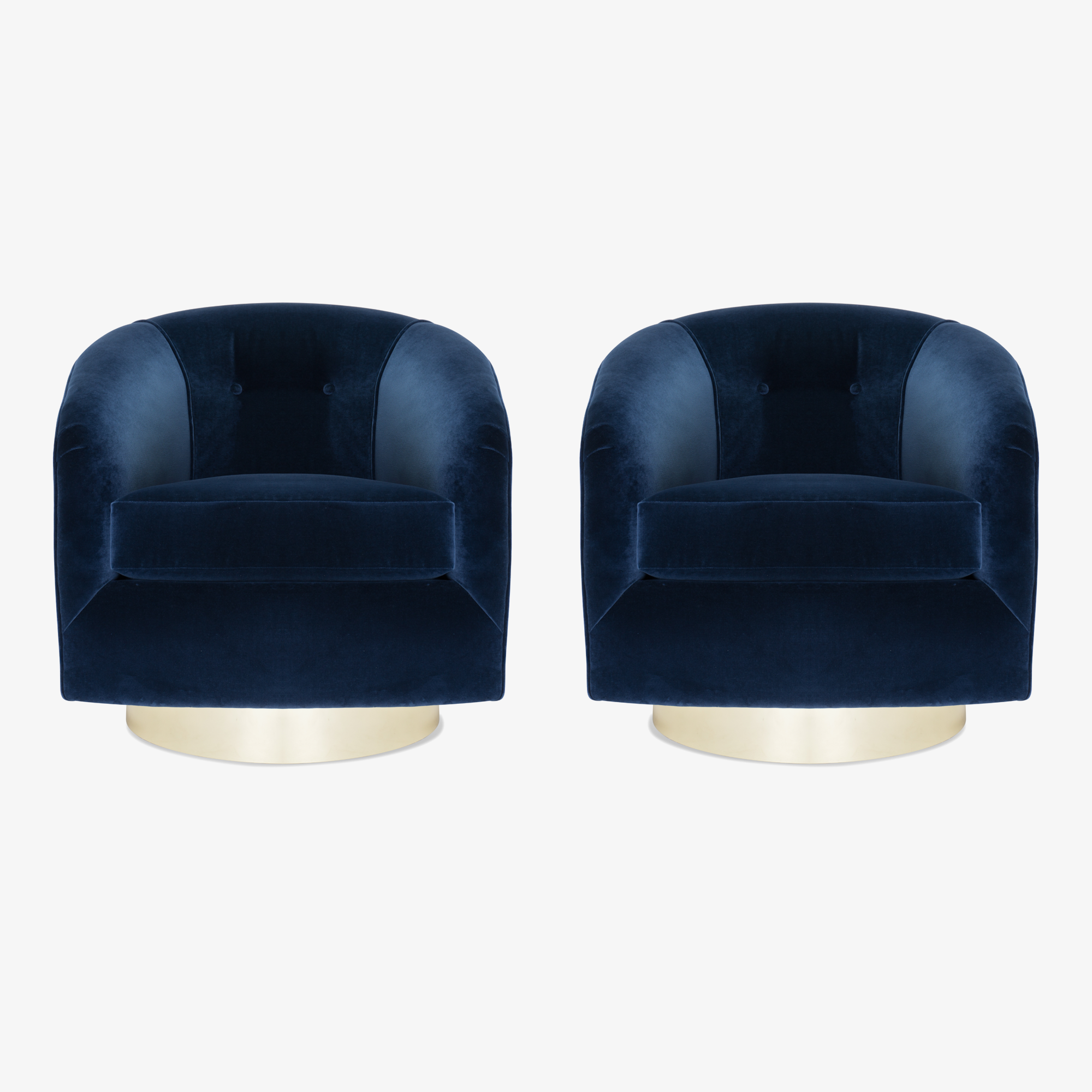 Swivel Tub Chairs in Navy Velvet with Polished Brass Bases, Pair.png
