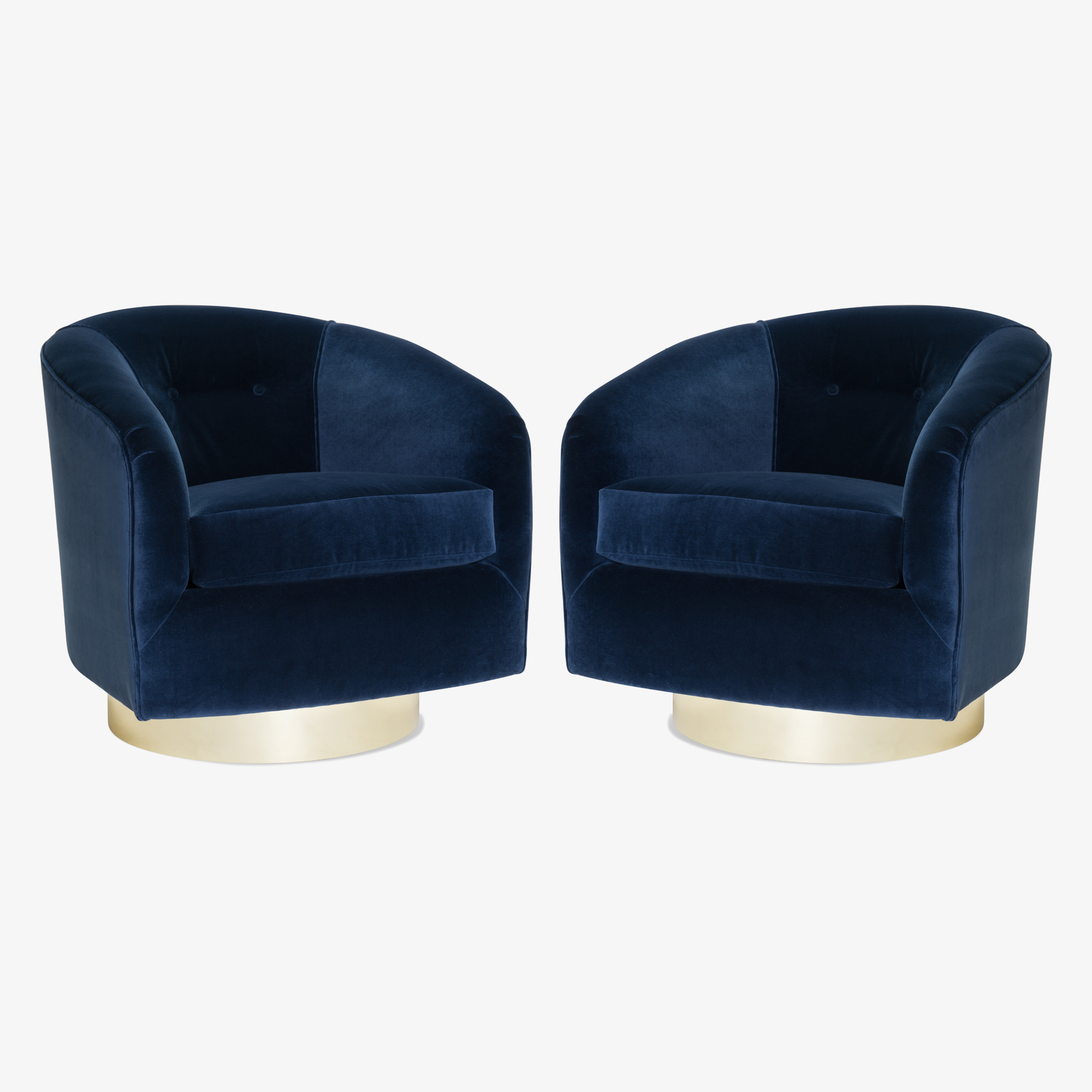 Swivel Tub Chairs in Navy Velvet with Polished Brass Bases, Pair2.png