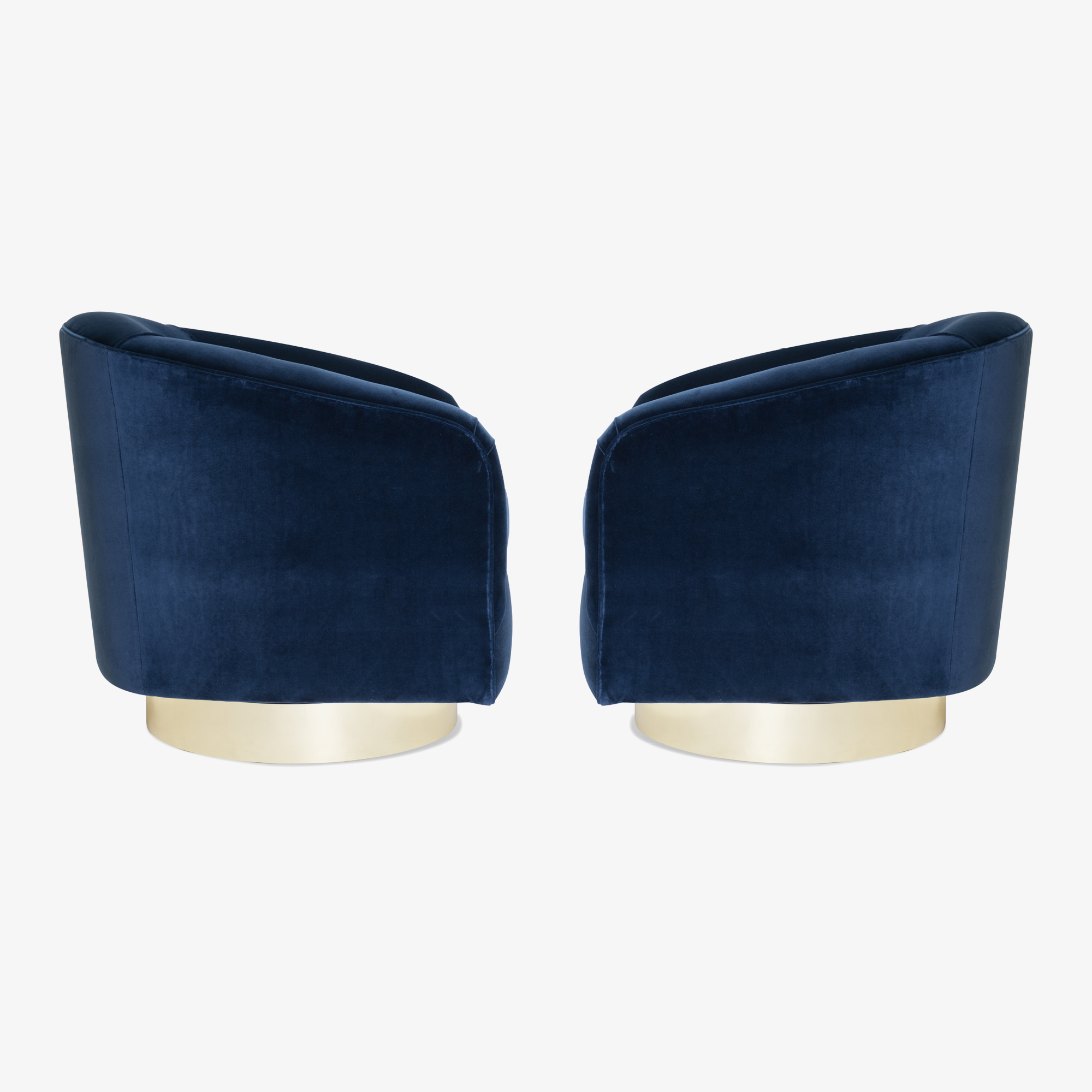 Swivel Tub Chairs in Navy Velvet with Polished Brass Bases, Pair3.png