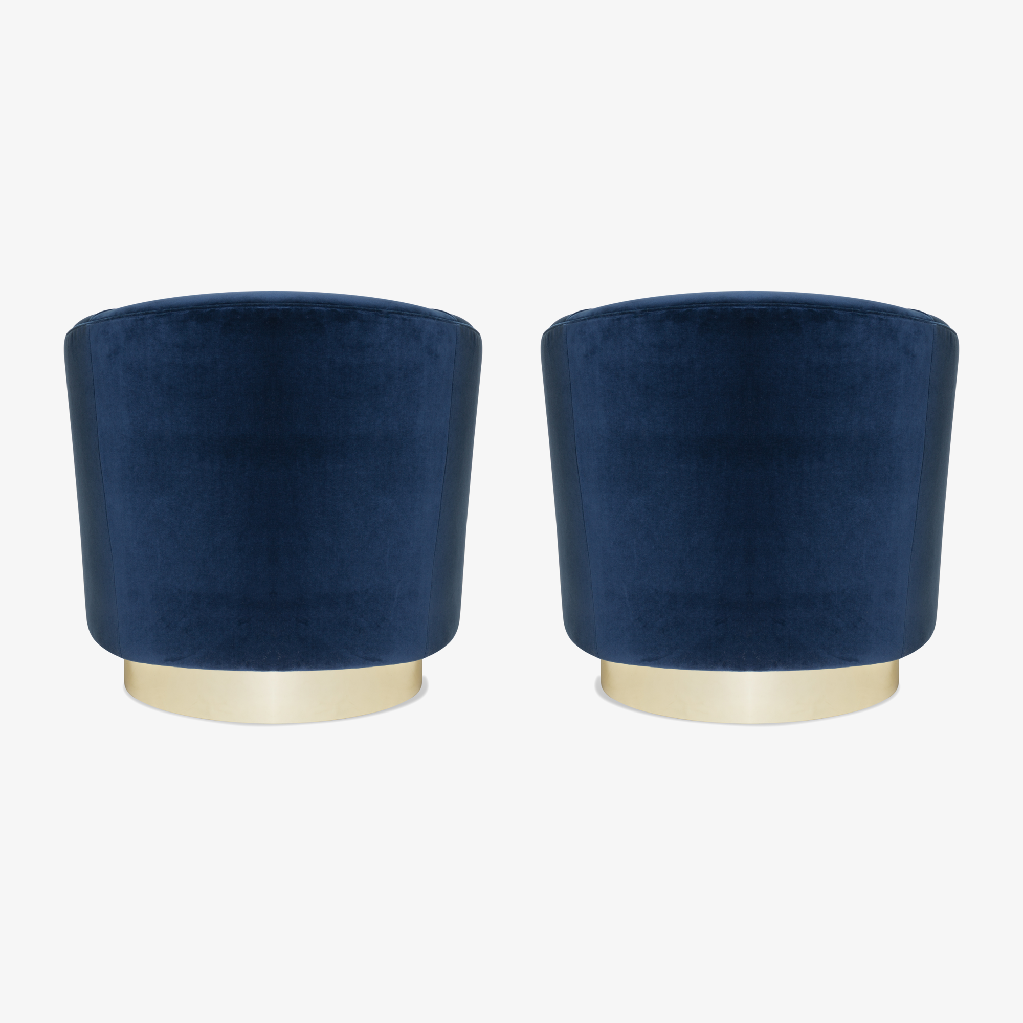 Swivel Tub Chairs in Navy Velvet with Polished Brass Bases, Pair5.png