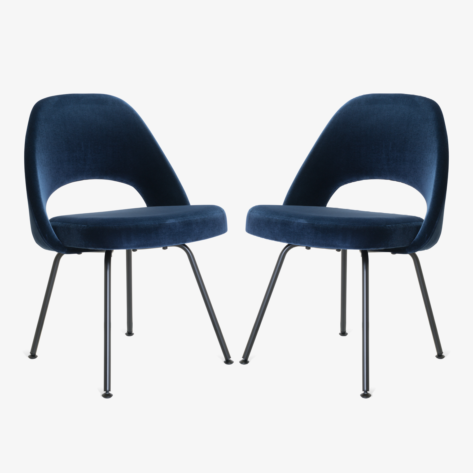 Saarinen Executive Armless Chairs in Navy Velvet, Black Edition3.png