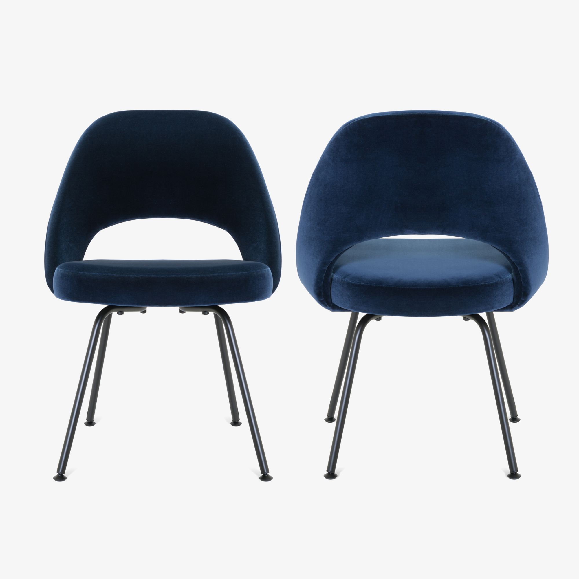 Saarinen Executive Armless Chairs in Navy Velvet, Black Edition5.png