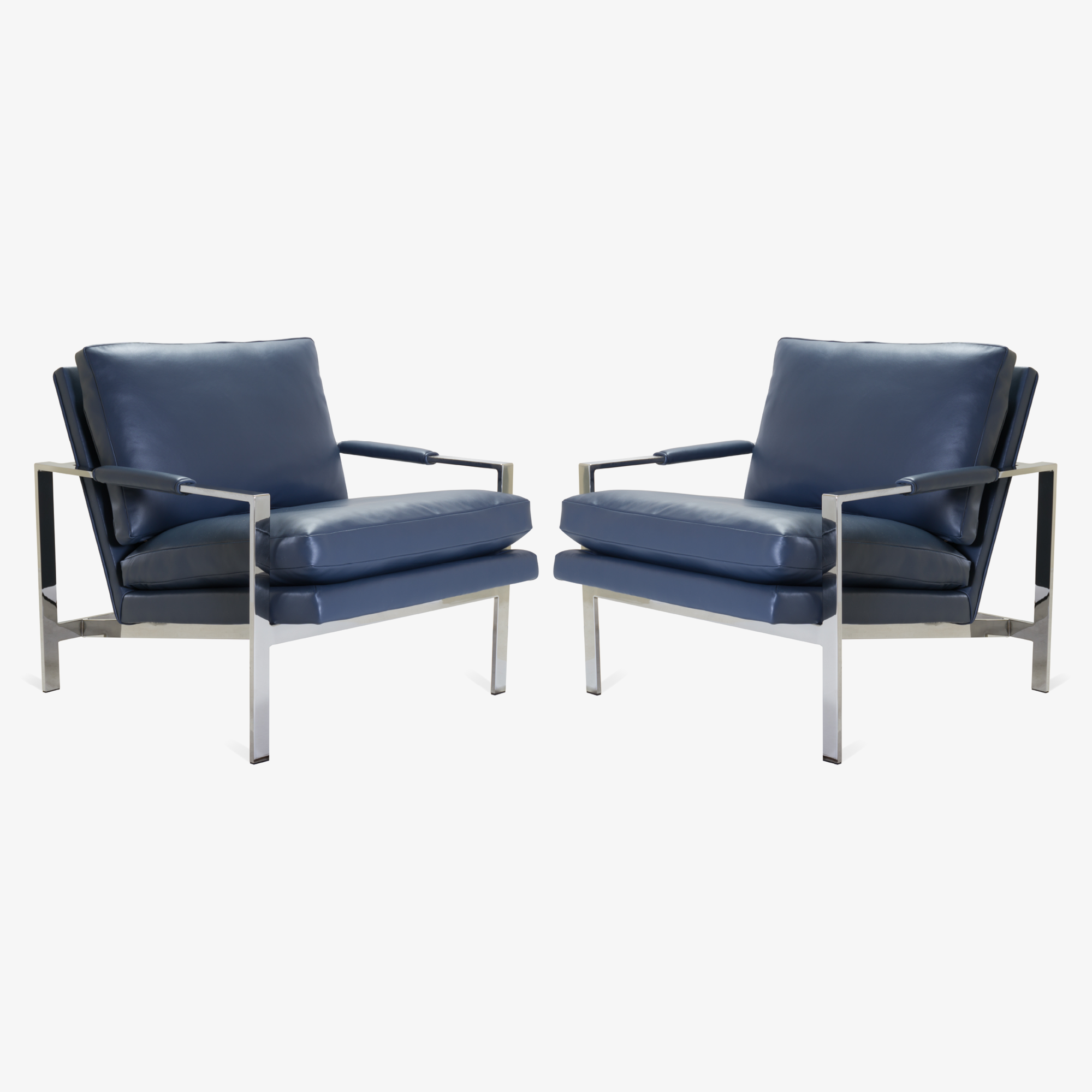 Flat-Bar Club Chairs in Navy Leather by Milo Baughman for Thayer Coggin.png