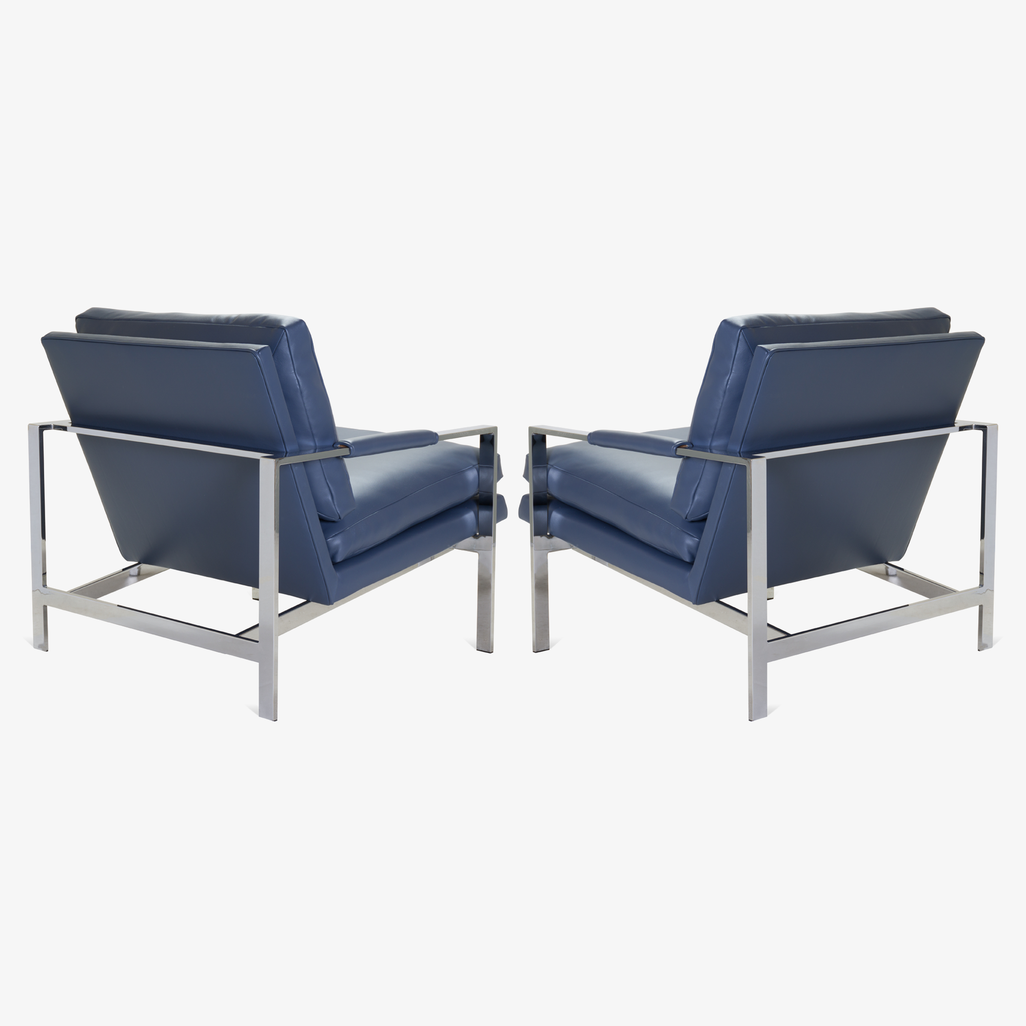 Flat-Bar Club Chairs in Navy Leather by Milo Baughman for Thayer Coggin4.png