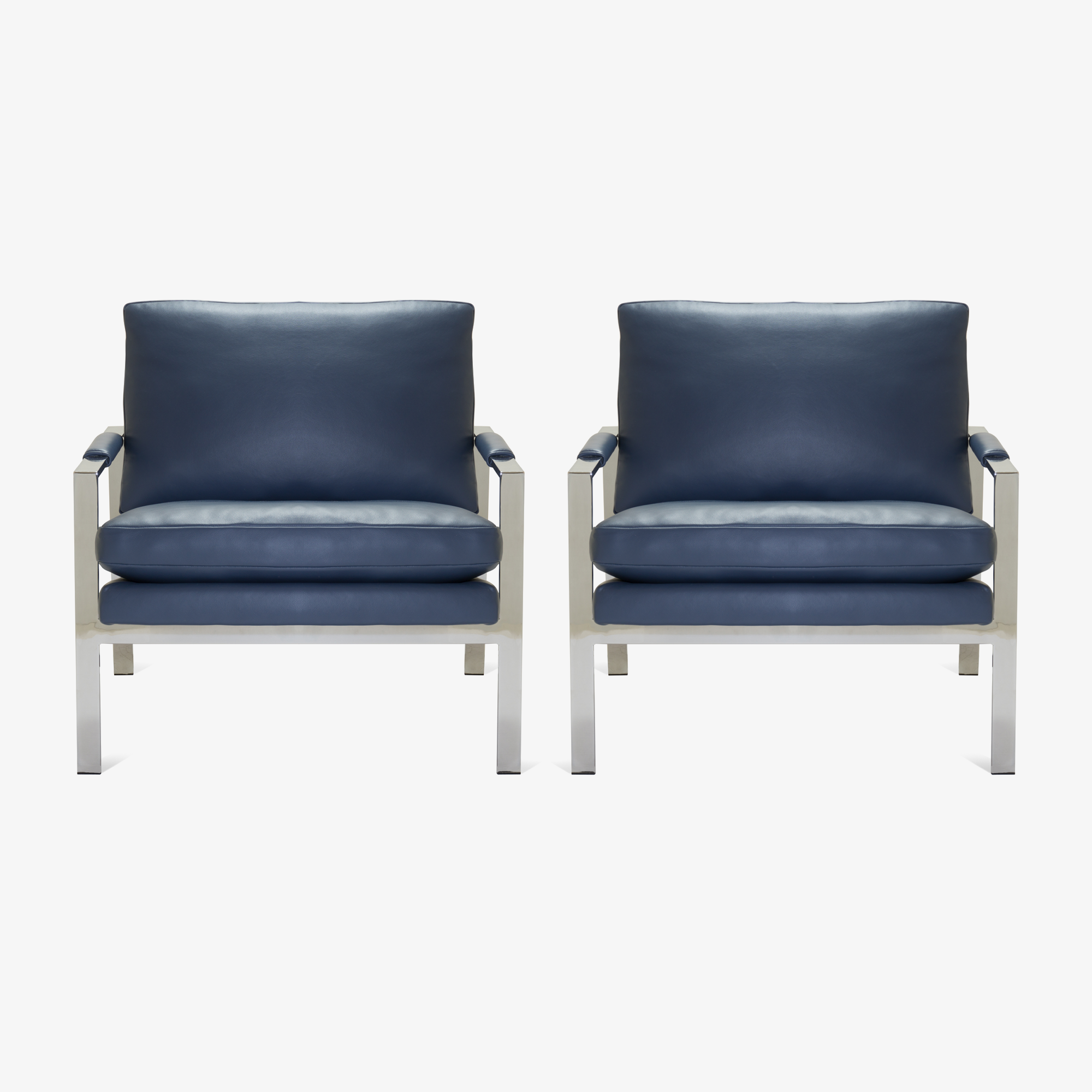 Flat-Bar Club Chairs in Navy Leather by Milo Baughman for Thayer Coggin3.png