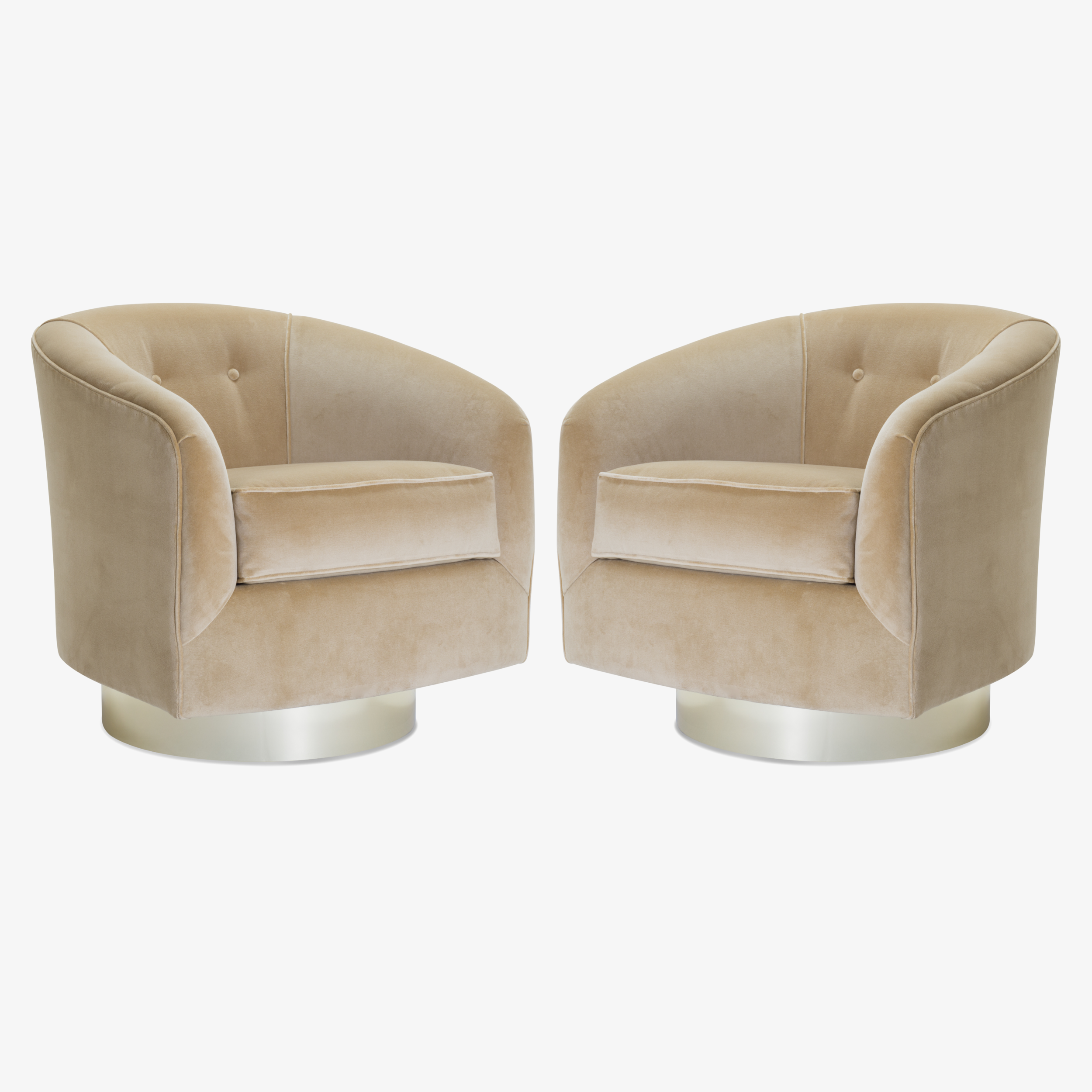 Swivel Tub Chairs with Brass Bases in Camel Velvet2.png