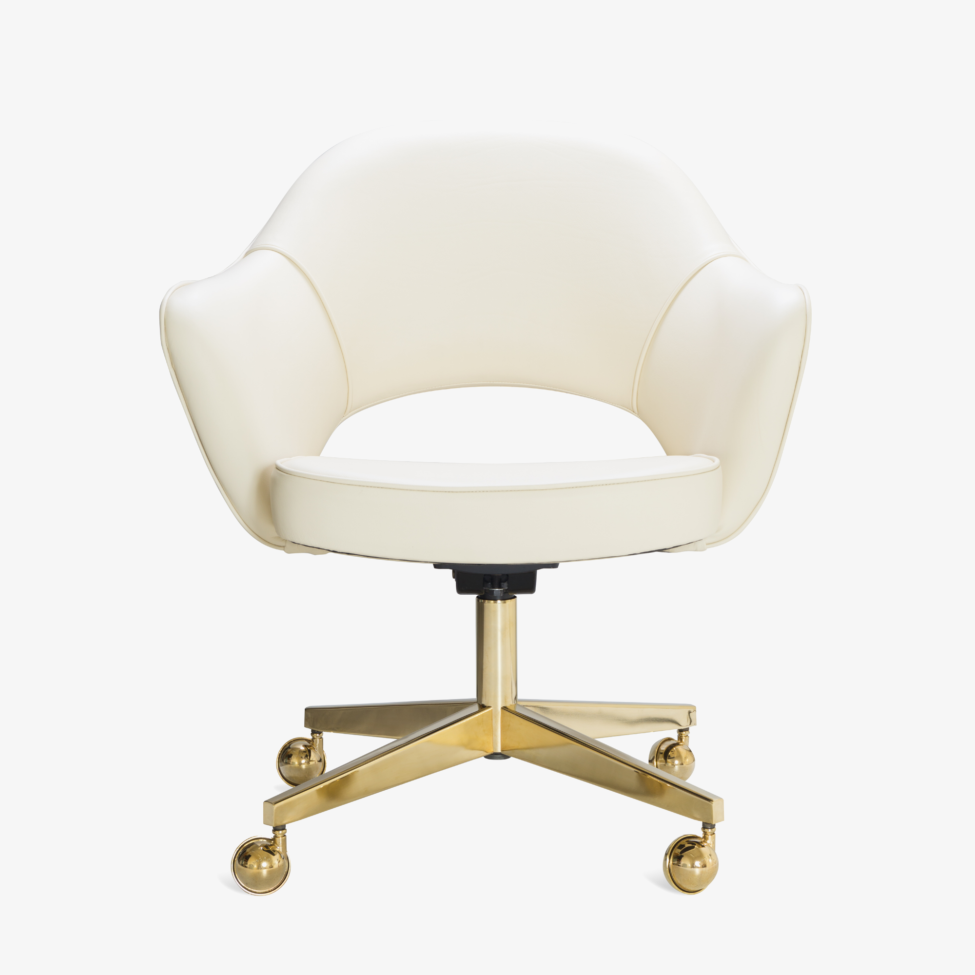 Saarinen Executive Arm Chair in Creme Leather, Swivel Base, 24k Gold Edition2.png