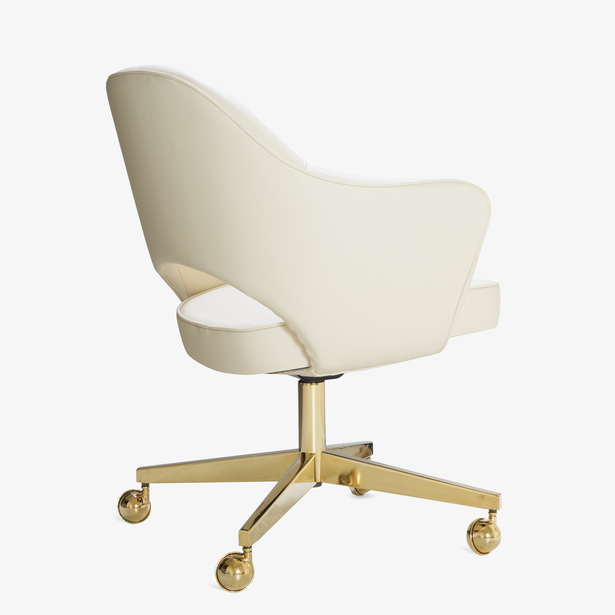 Saarinen Executive Arm Chair in Creme Leather, Swivel Base, 24k Gold Edition4.png