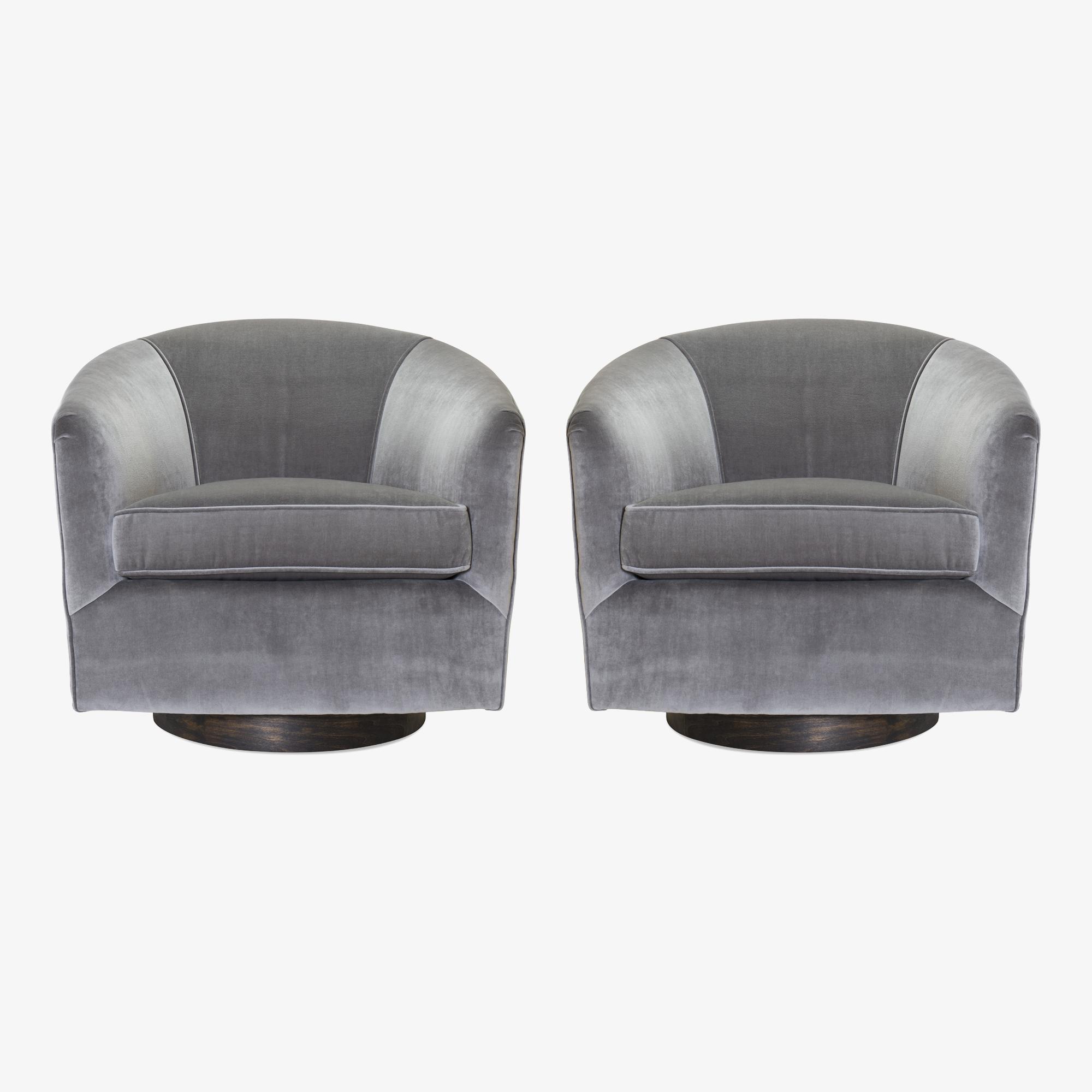 Swivel Tub Chairs in Fog Velvet & Walnut Bases, Pair.png