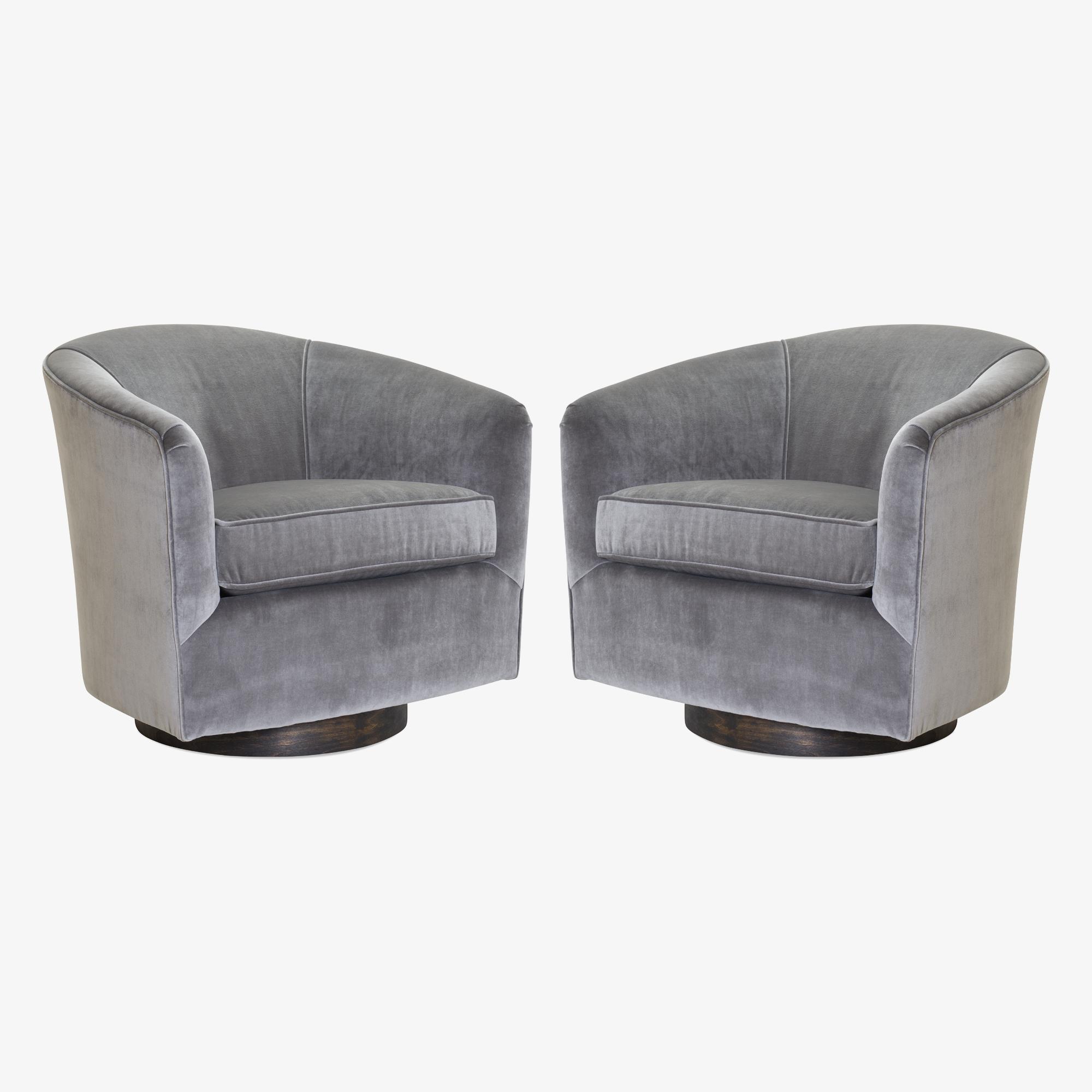 Swivel Tub Chairs in Fog Velvet & Walnut Bases, Pair2.png