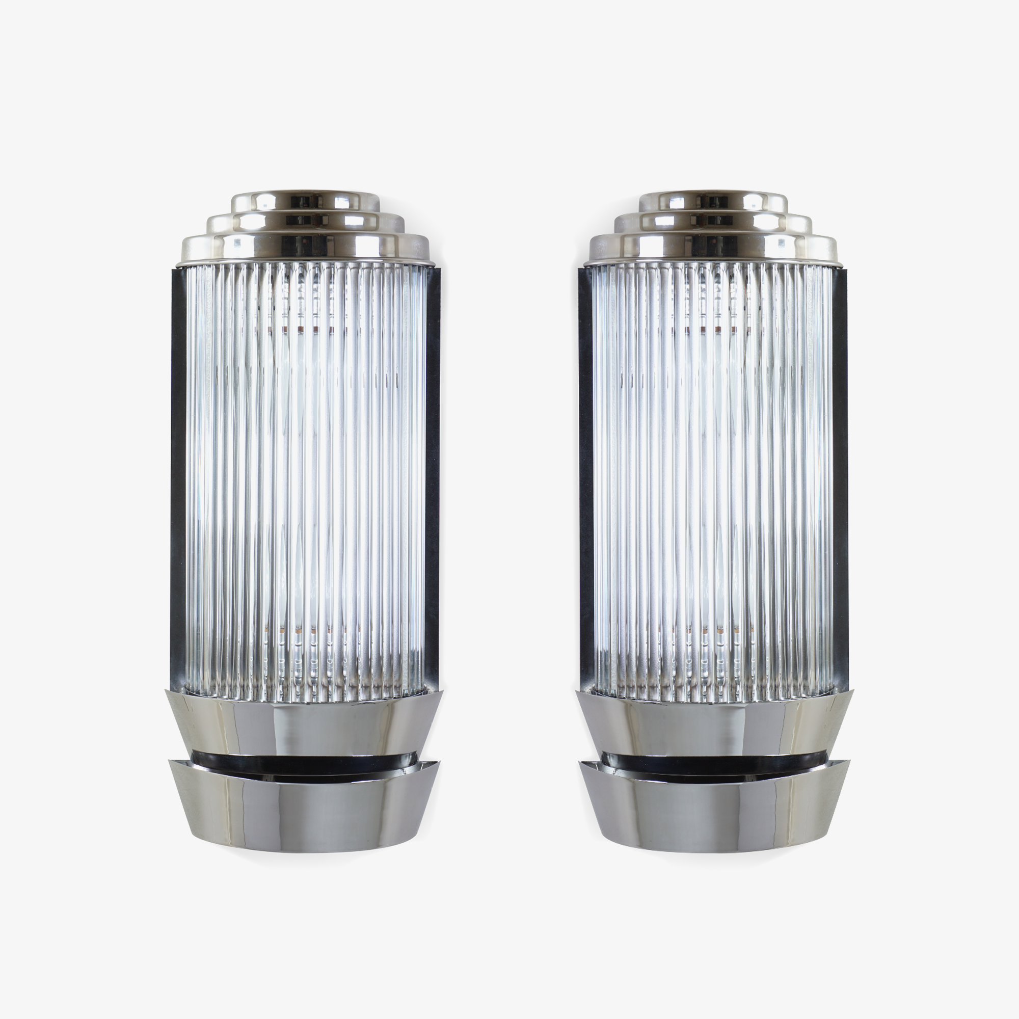 Art-Deco Sconces in Glass & Nickel by Petitot.png