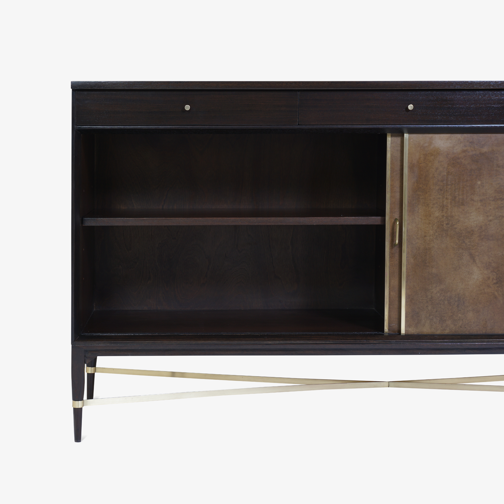 Walnut & Brass Cross Stretcher Credenza by Paul McCobb for Calvin Group4.png