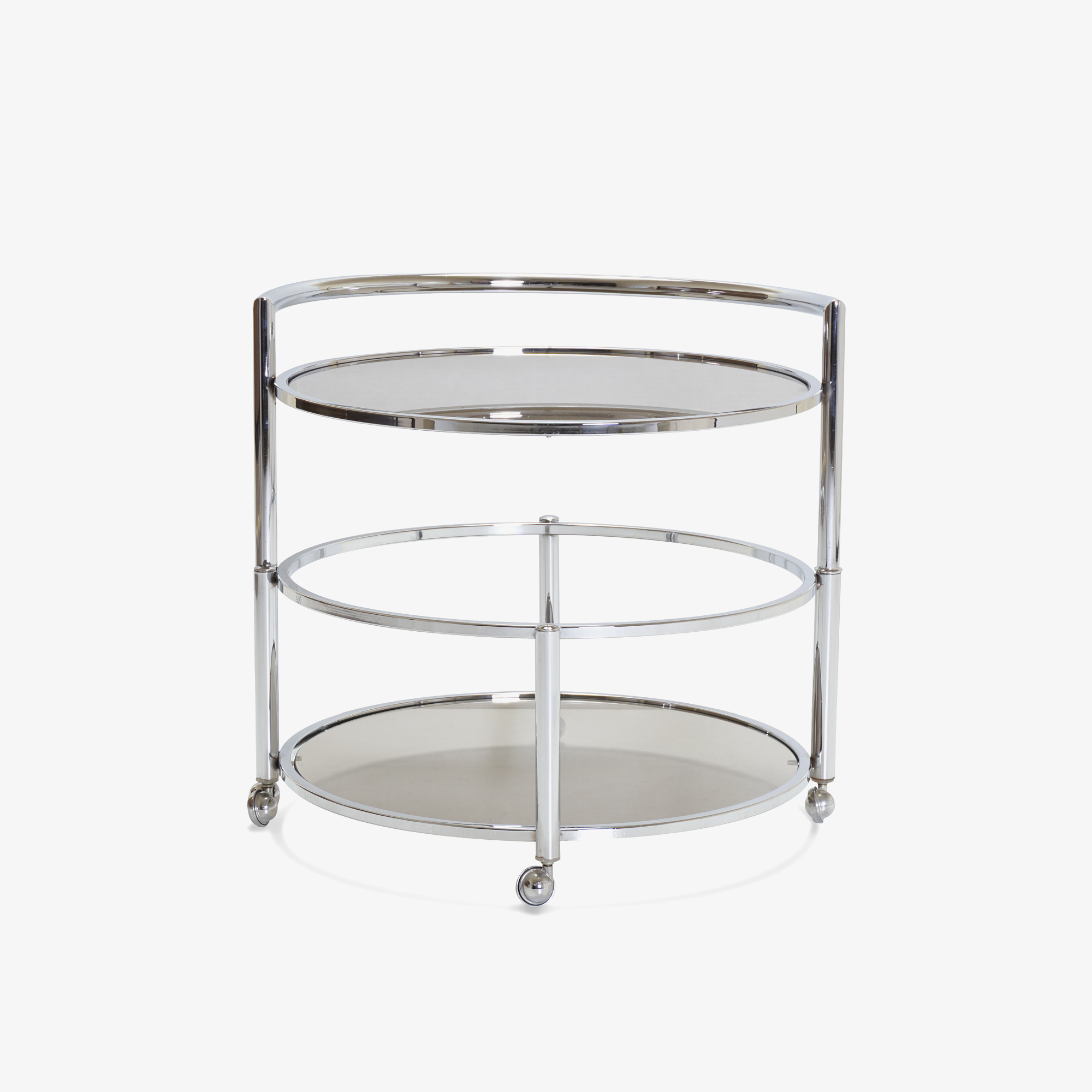 Round 2-Tier Expandable Rolling Bar Cart in Chrome with Smoked Glass.png