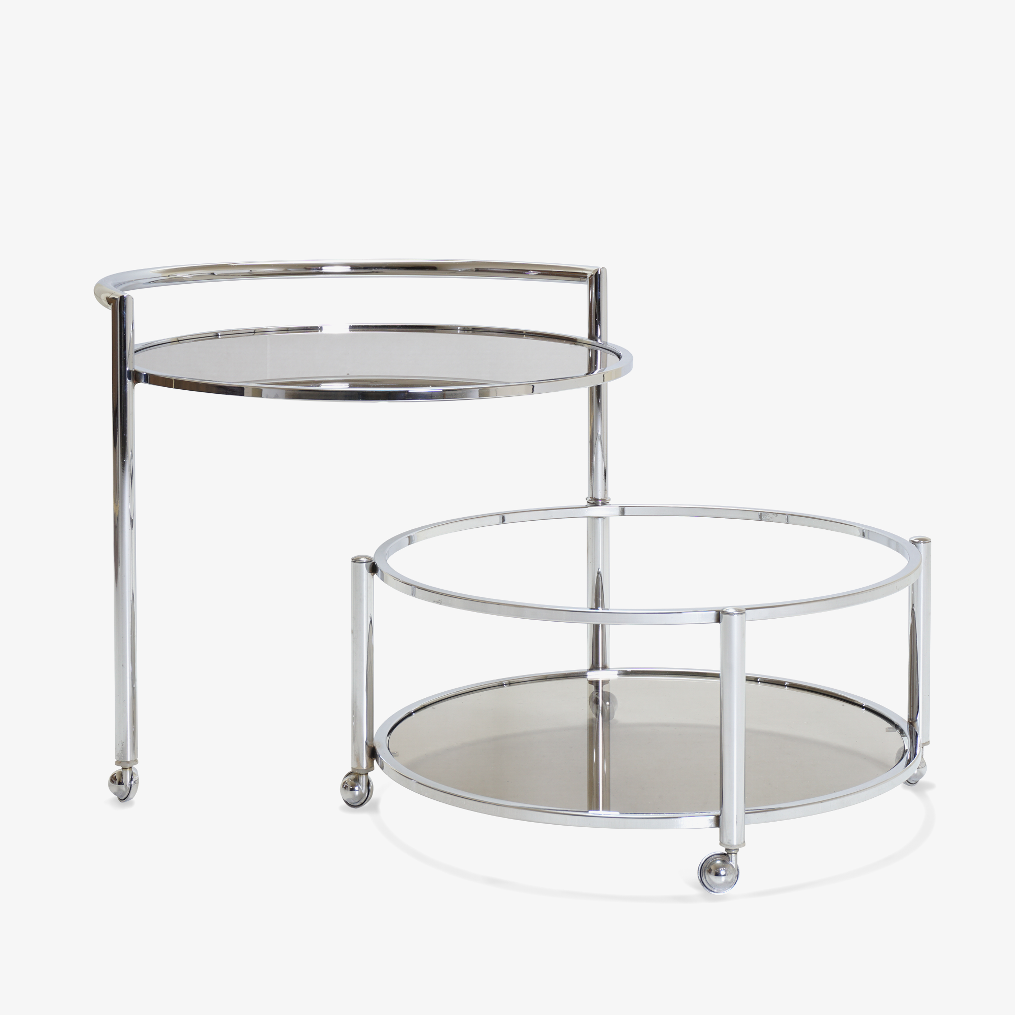 Round 2-Tier Expandable Rolling Bar Cart in Chrome with Smoked Glass2.png