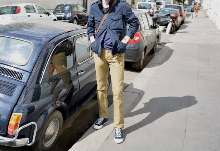 Pantalon Aspesi couleur sable – M65 jacket – Fiat 500