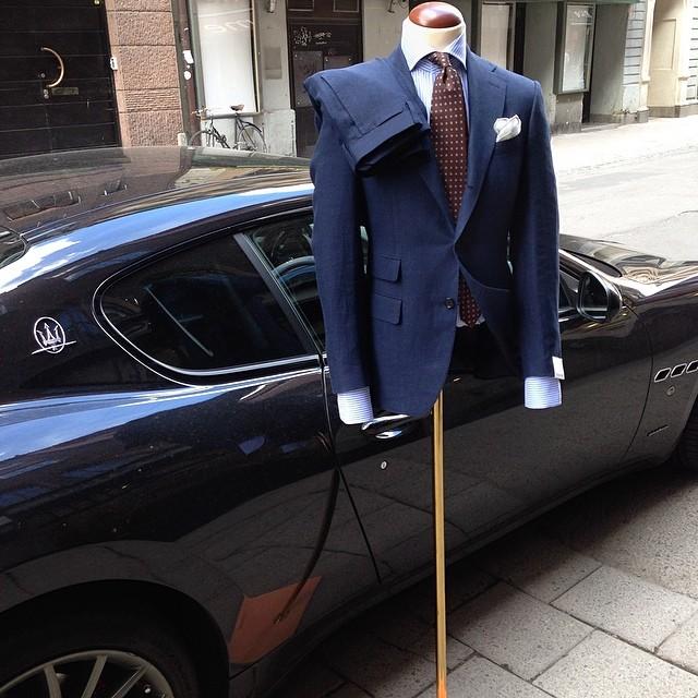 Suit Caruso 11.350 Shirt Finamore 2150 Tie Marinella 1395 Pochette 495 Car Maserati 1.200.000 SEK.jpg