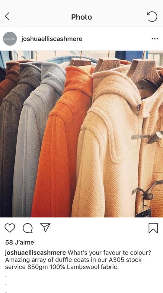 Un tissus lourd, plus de 800 gr/m² pour réaliser de beaux Duffle Coat - de chez Elysian. 100% Lambswool.