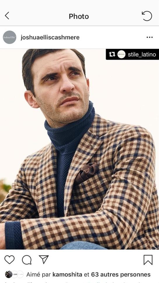 Tissu carreau en laine, pour Still Latino une très belle marque Napolitaine En photo, le mannequin très 50's , James Jonathant.