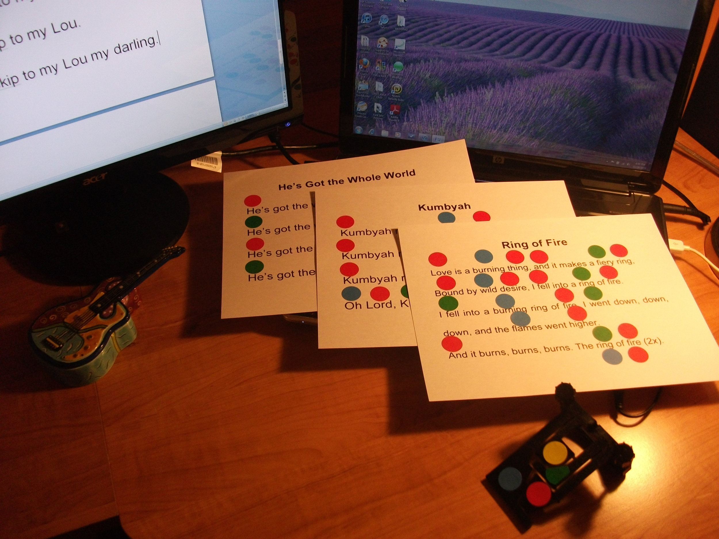AdaptedGuitar - Non-traditional learning methods- color coding/adapted guitar device