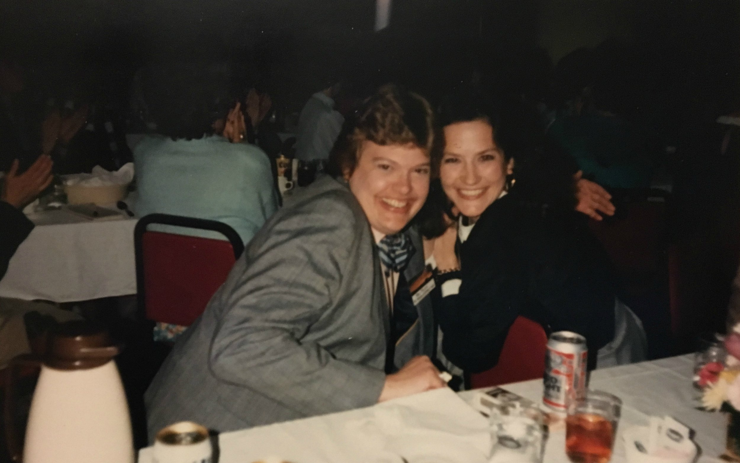 Vicki Miller and I at a Nebraska Press Women event in the late 1980s in Grand Island, Neb., as I remember it. Or maybe it was Hastings. Somewhere along the Interstate 80 corridor. Yes, that's a Bud Light in front of me. And no, we just didn't know how to have any fun. (Kidding.)