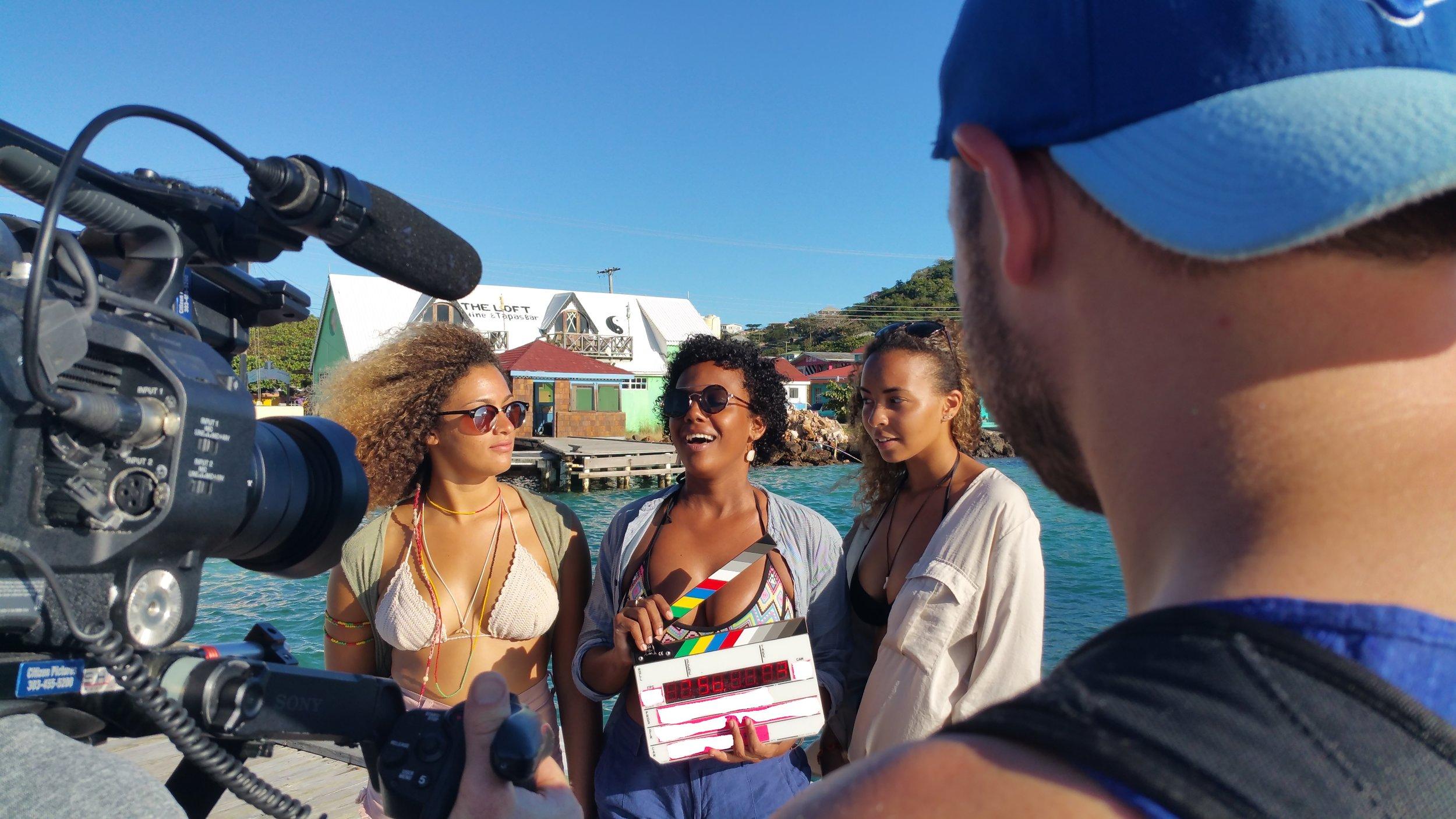 Union Island - Getting Ready to Head onto the 40 foot Speed Boat - Mia, Ariel and Tatiana