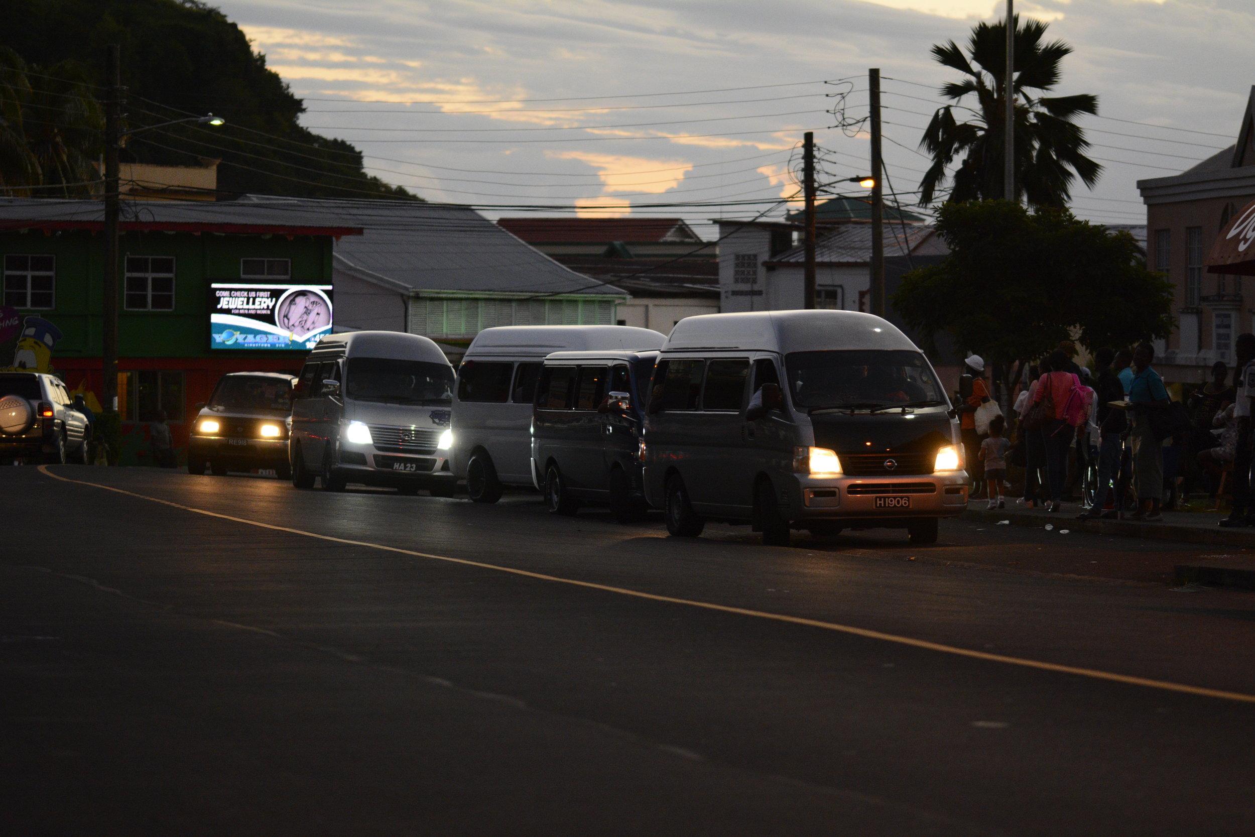 Sundown in St.Vincent at the Peace Memorial Hall Van Terminal