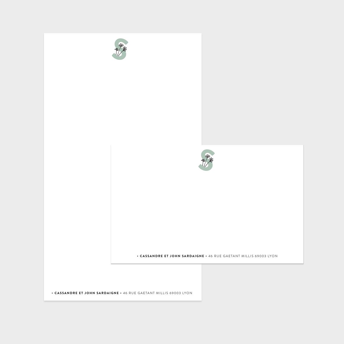 Collection Lettrines - carte de correspondance + papier à lettres