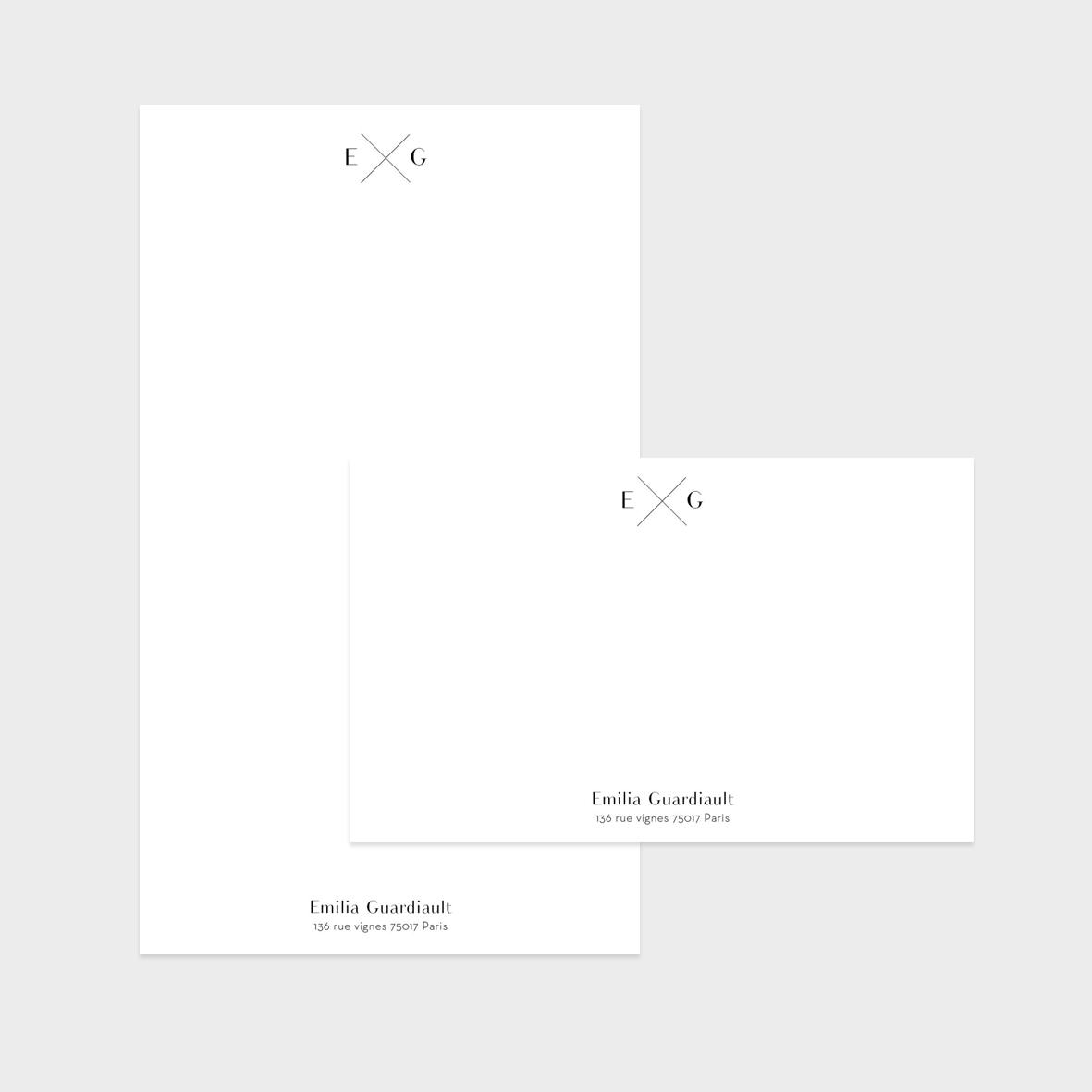 Collection Initiales - carte de correspondance + papier à lettres