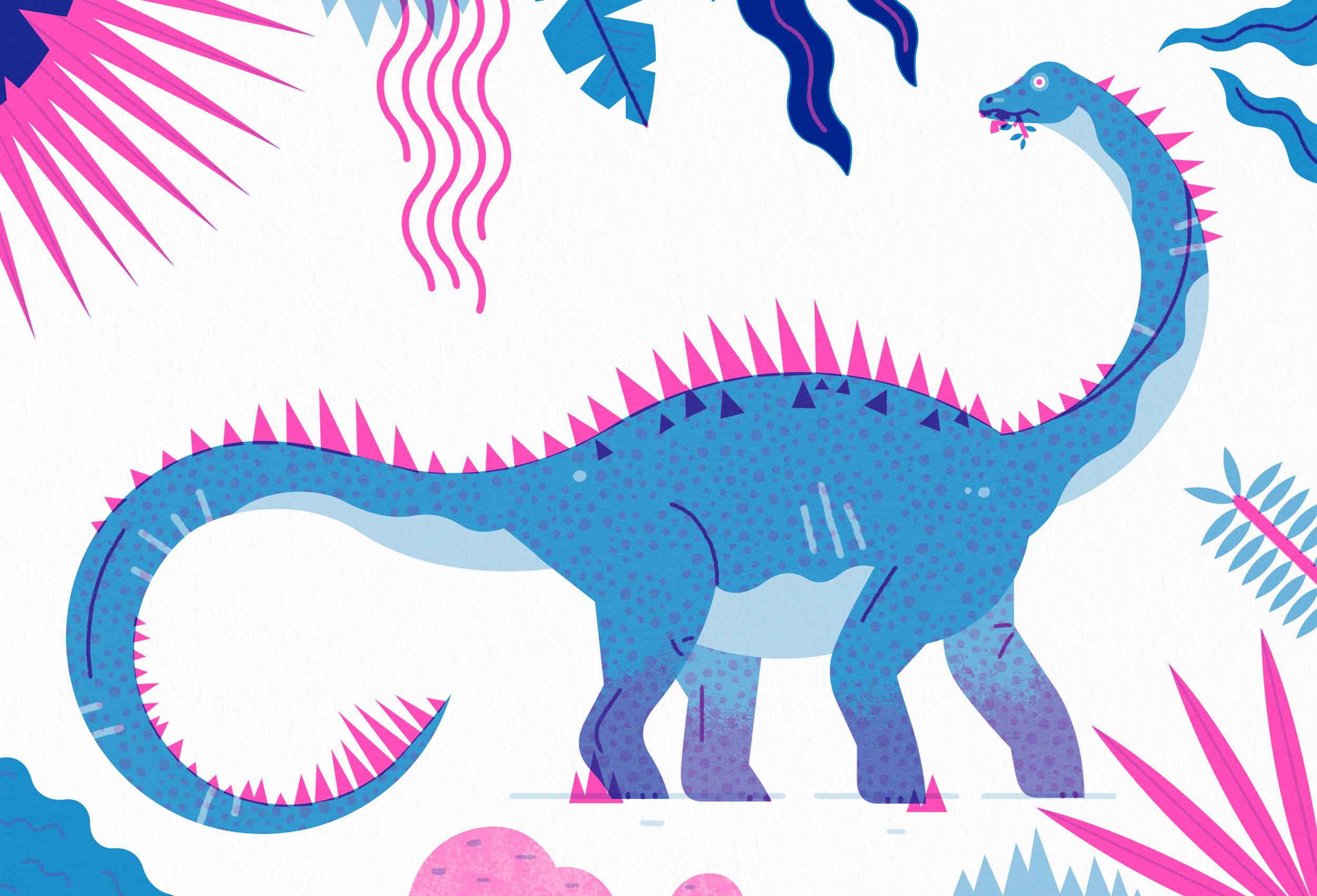 Agustina illustration - Dinosaur riso print