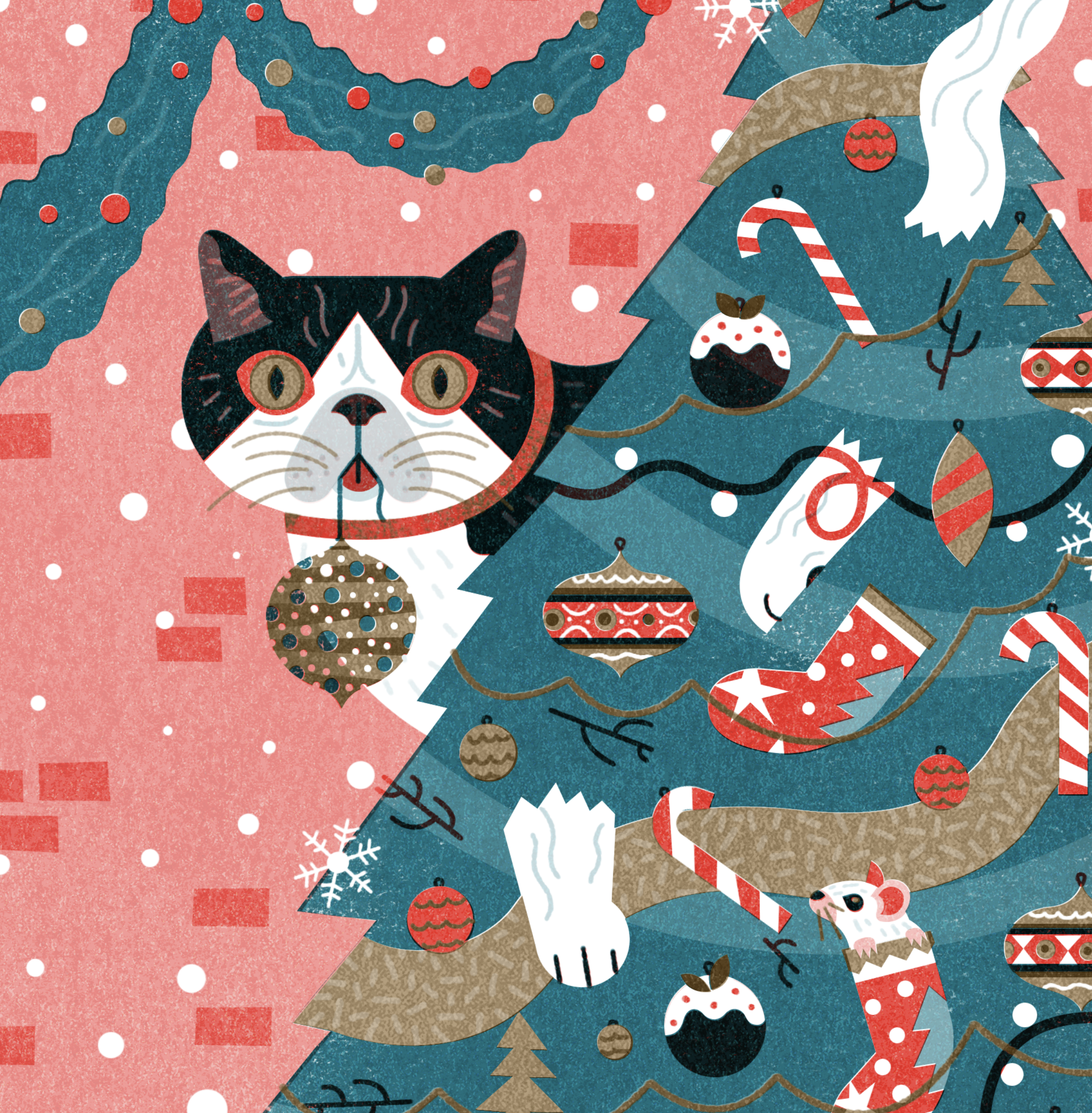 Cat Risograph Christmas Card