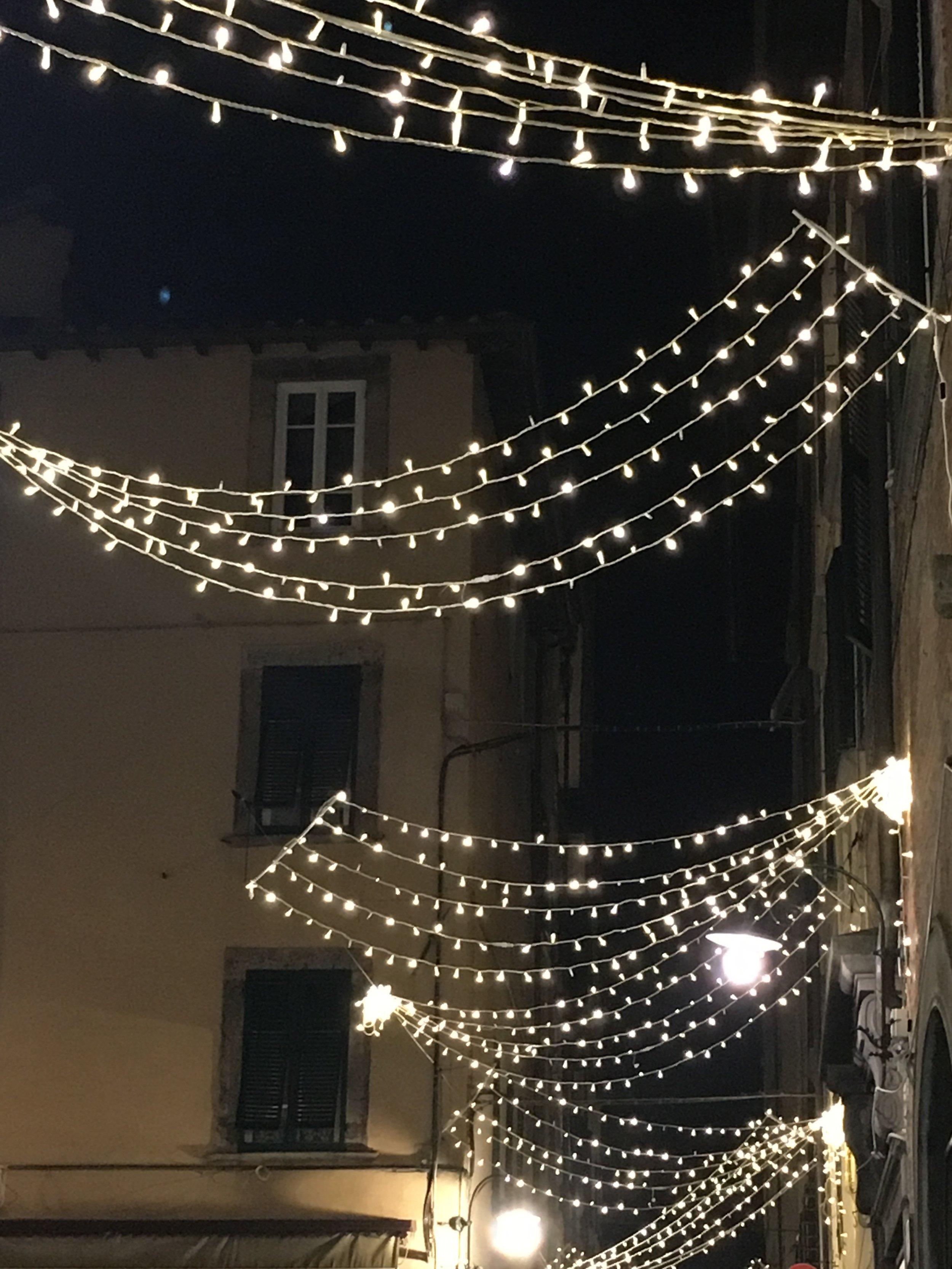 Rows of lights crisscross a street in Lucca, December 2016.