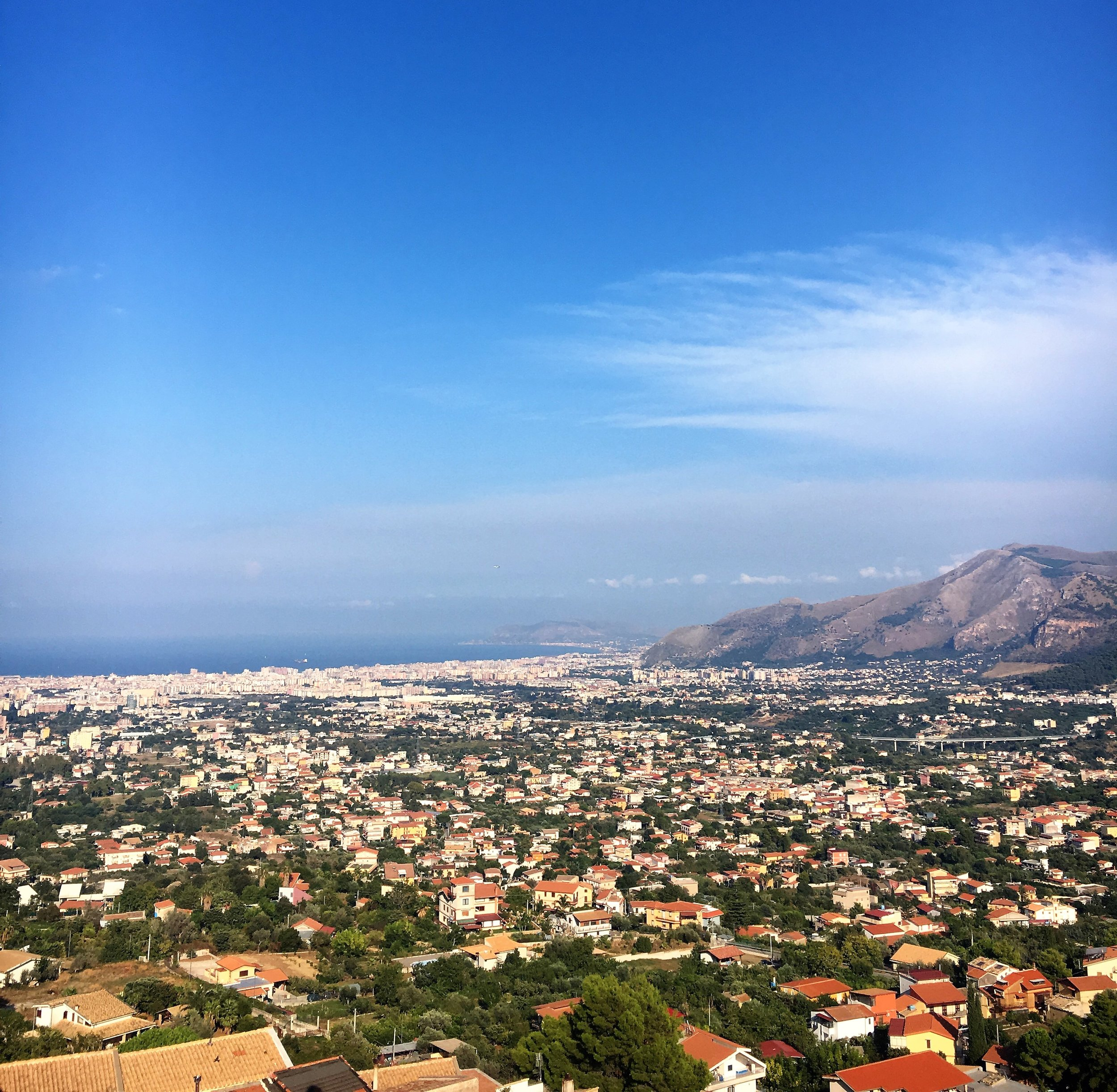 The view to the Mediterranean Sea from the roof terraces of Monreale Cathedral, Sicily, September 2016.