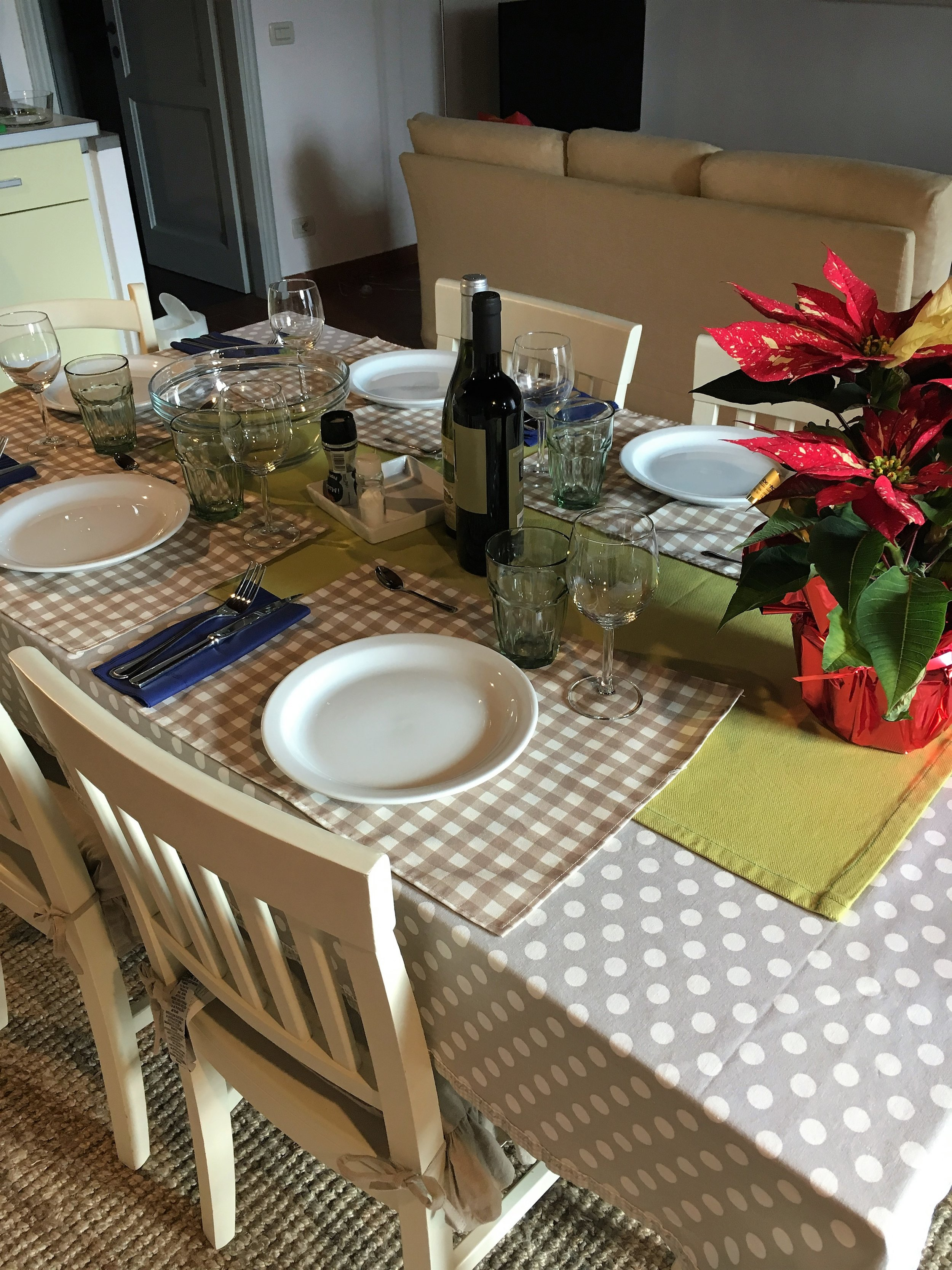 The table is set for pranzo with amici, Lucca, January 2017.