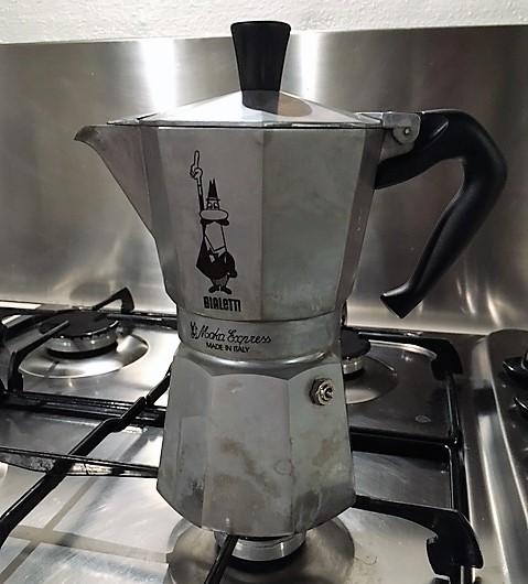 A Moka, a coffee-brewing essential in Italy.