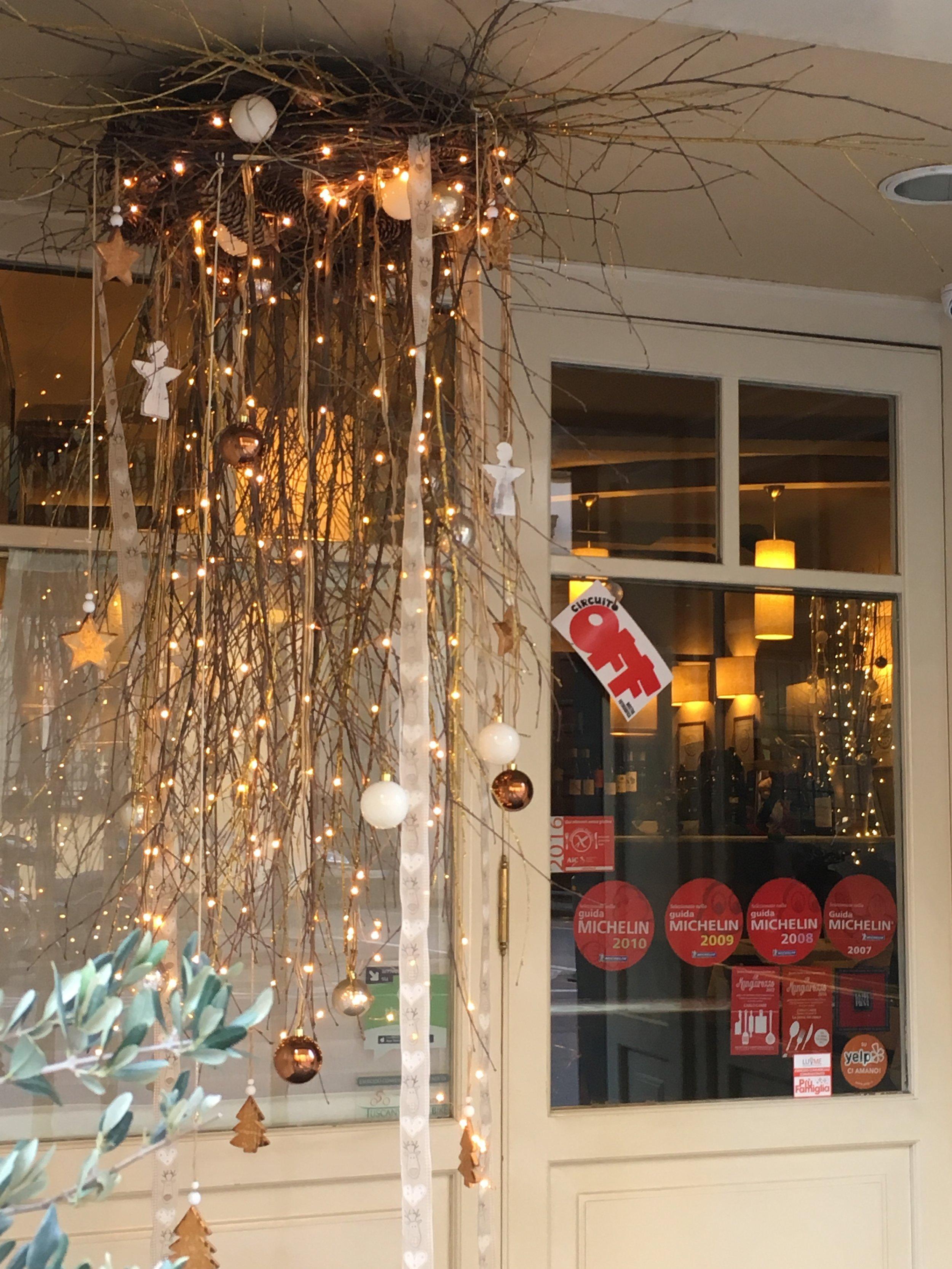 The entrance to Gli Orti di Via Elisa, still decorated for the Christmas season.