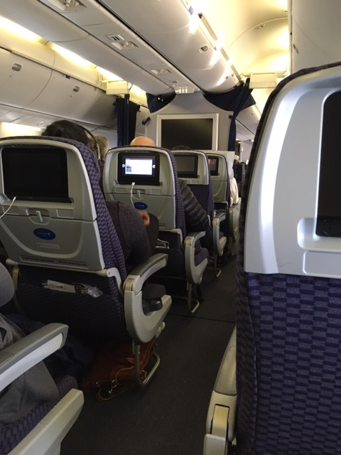 United Economy Plus seating on my way to Italy, December 2016