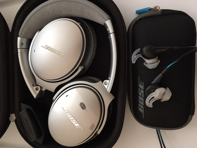 "BOSE noise-canceling headphones (left) and earbuds (right).  The headphones are the ""gold standard"" for noise reduction in flight and are Bluetooth enabled; the earbuds are smaller, lighter weight and also provide good noise reduction."
