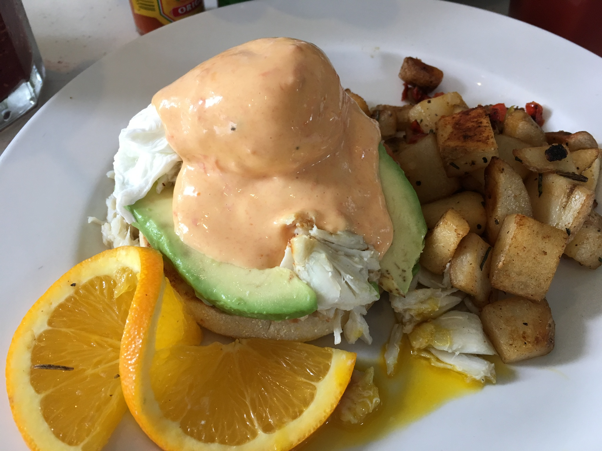 A half order of crab and avocado Benedict at The Cottage. The kitchen was happy to split this.