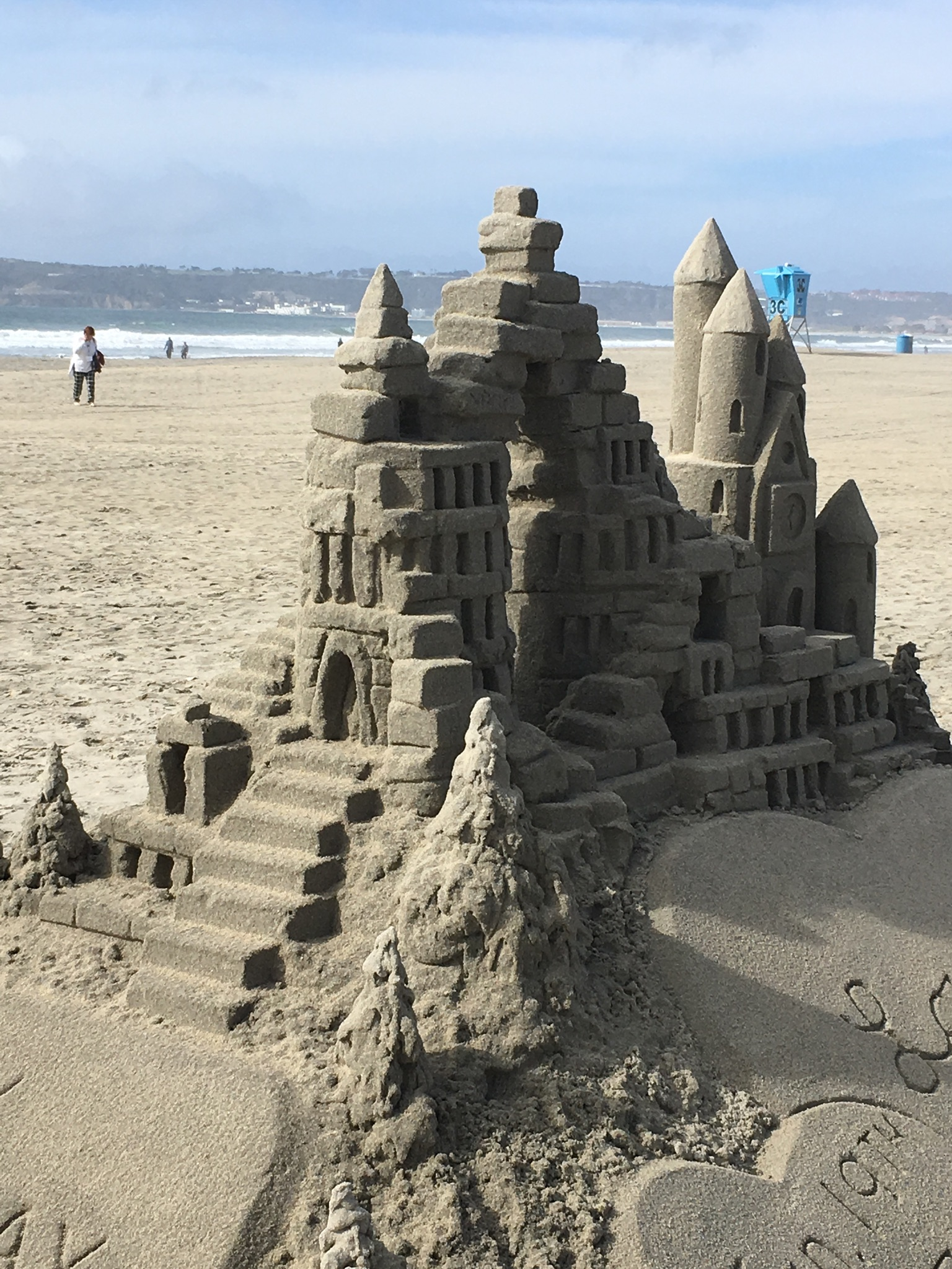Sand castle on the beach at Hotel Del.